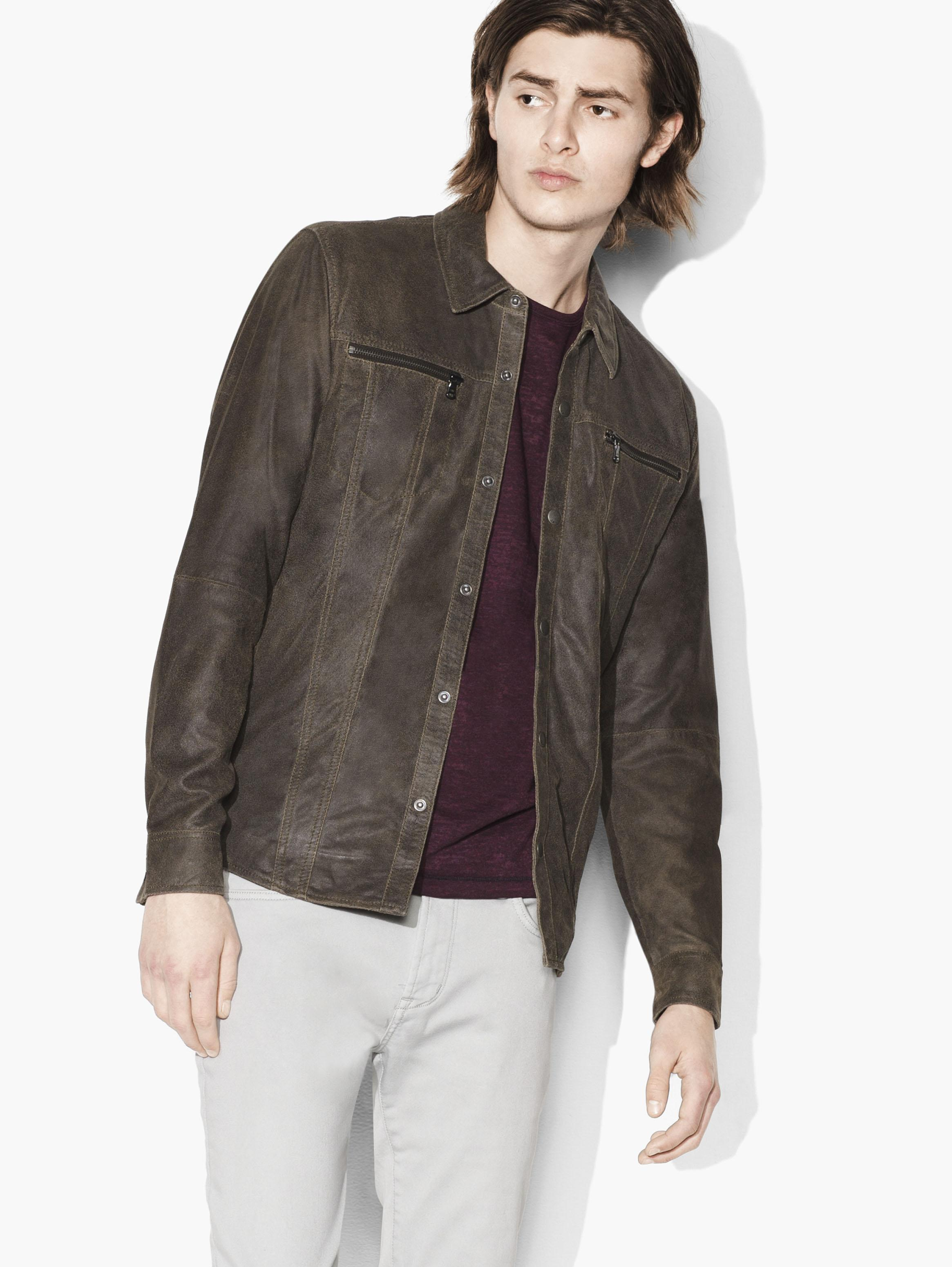 Waxed Leather Shirt Jacket