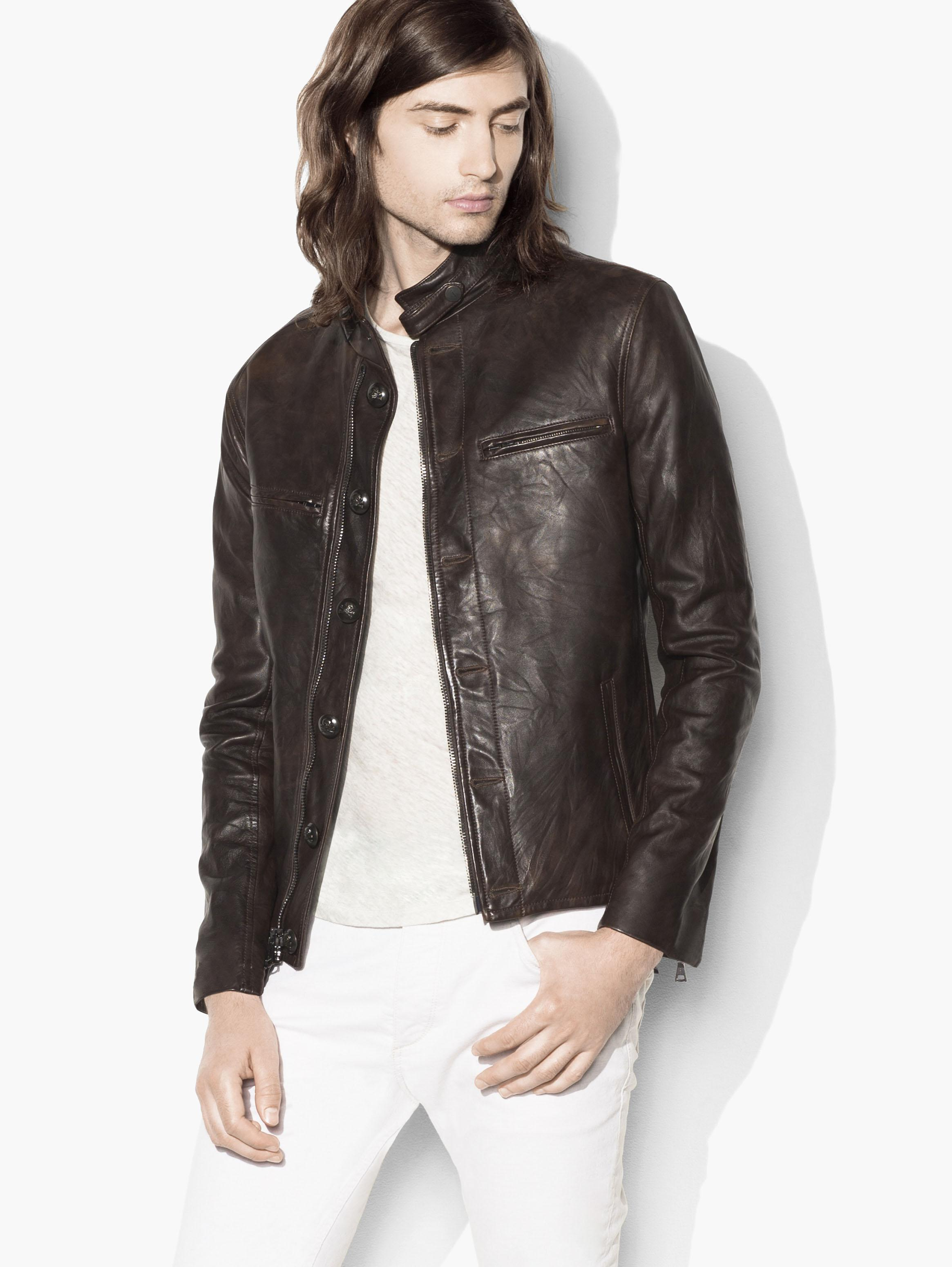 Burnished Moto Leather Jacket