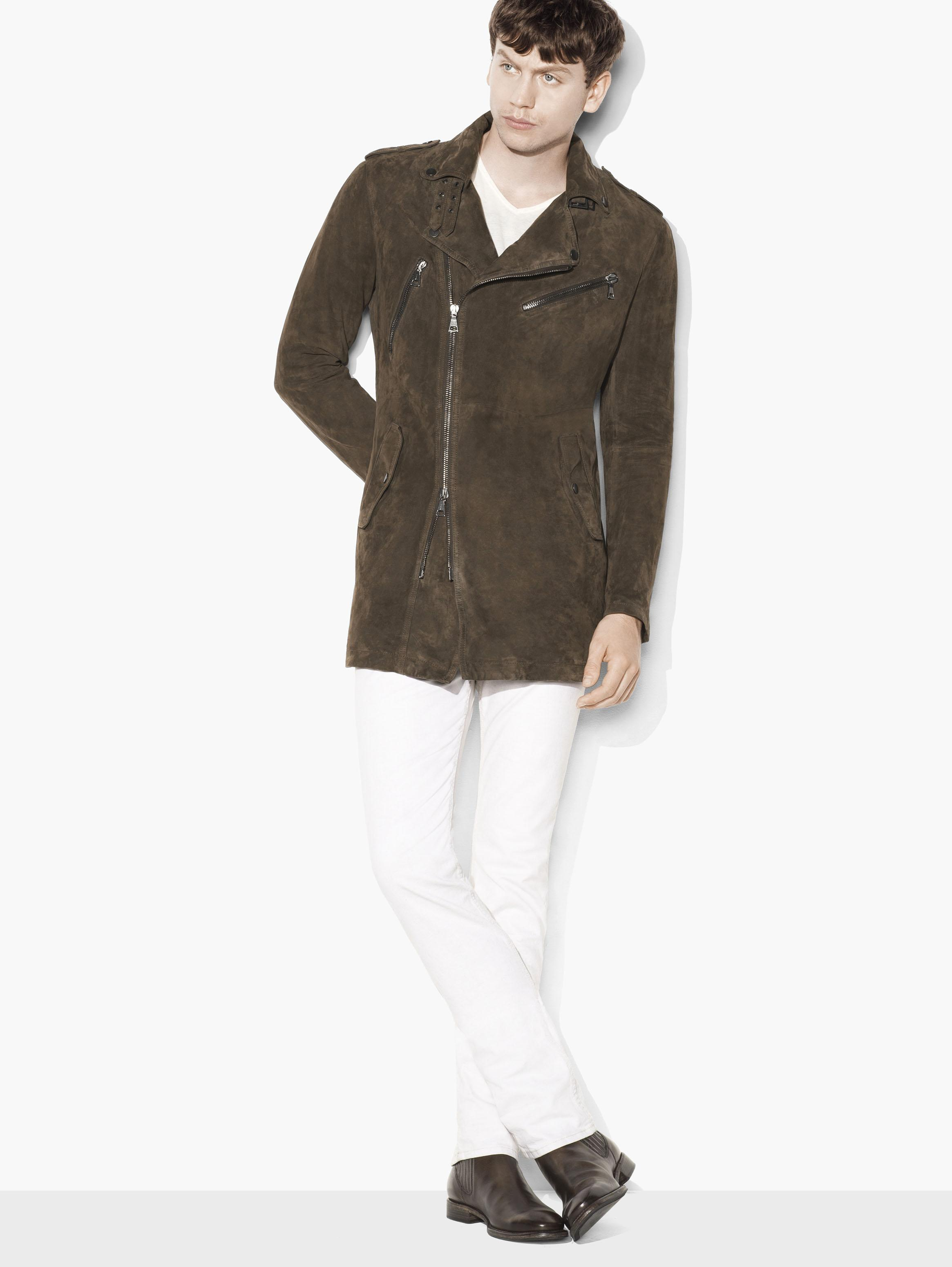 Long Biker Suede Jacket