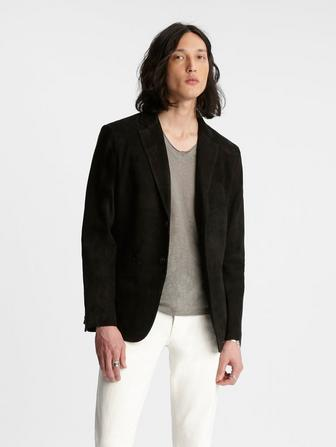 Notch Lapel Suede Jacket