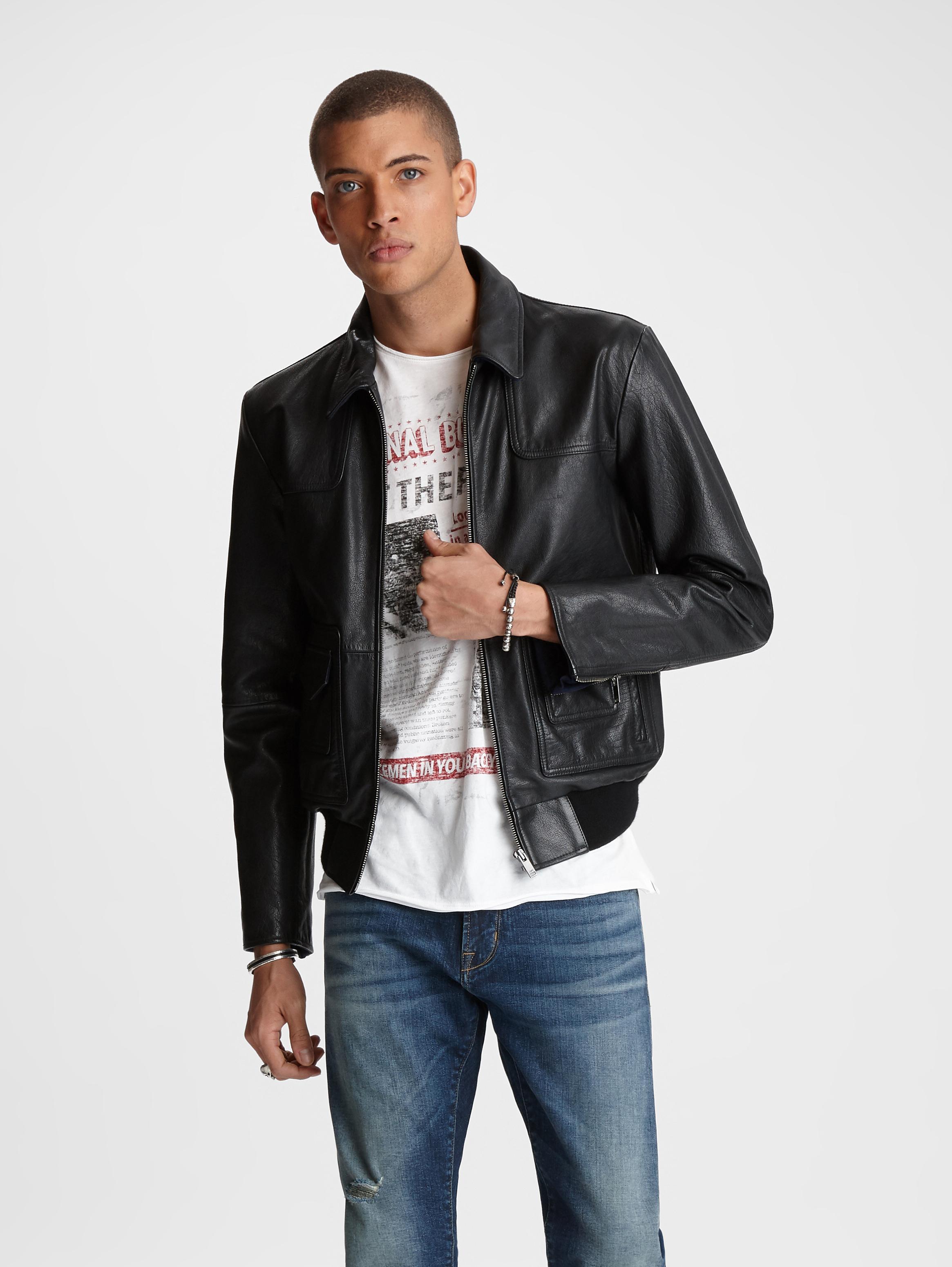 John Varvatos Reese Leather Jacket Black