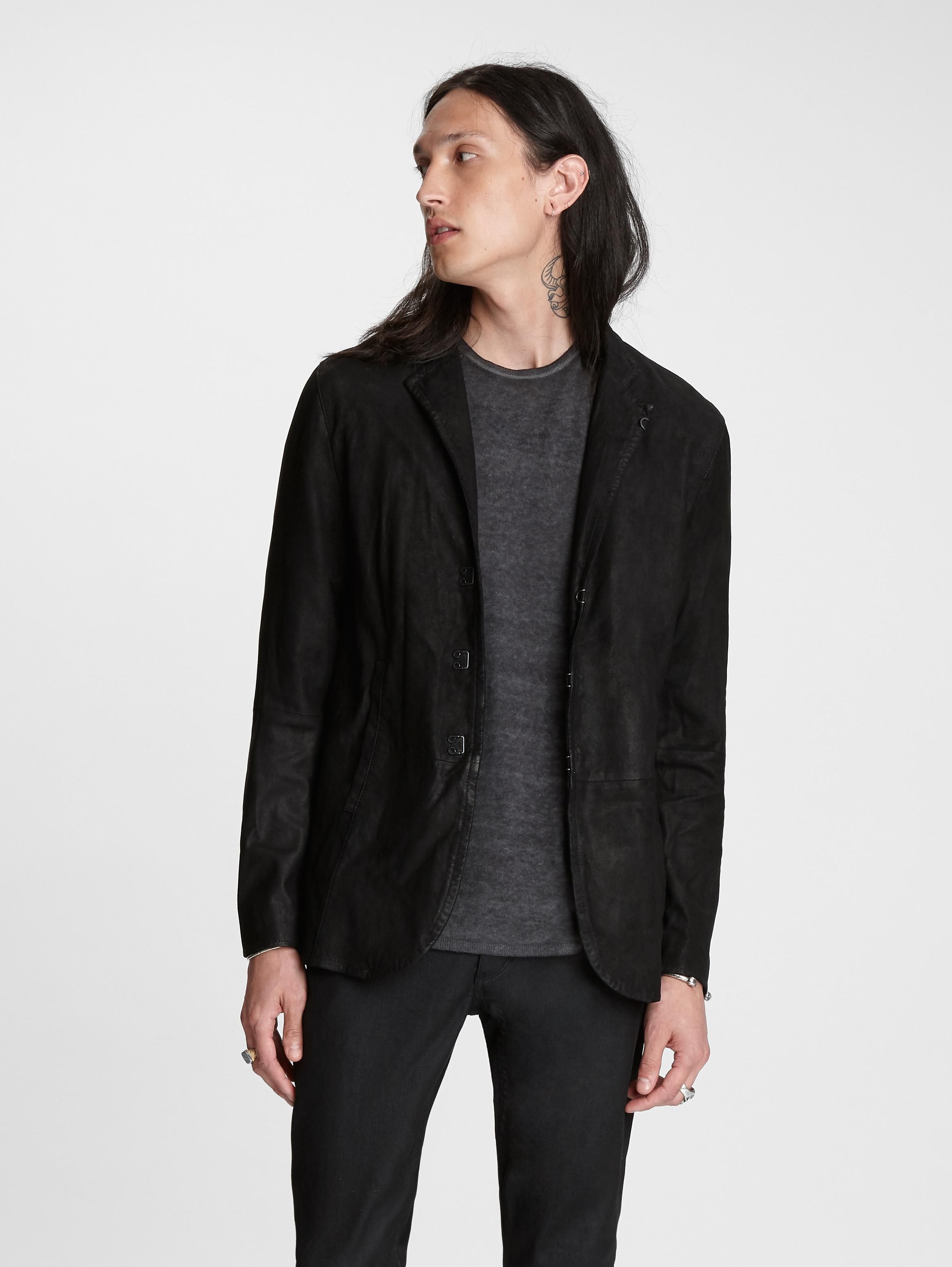 John Varvatos Hook & Bar Suede Jacket Black