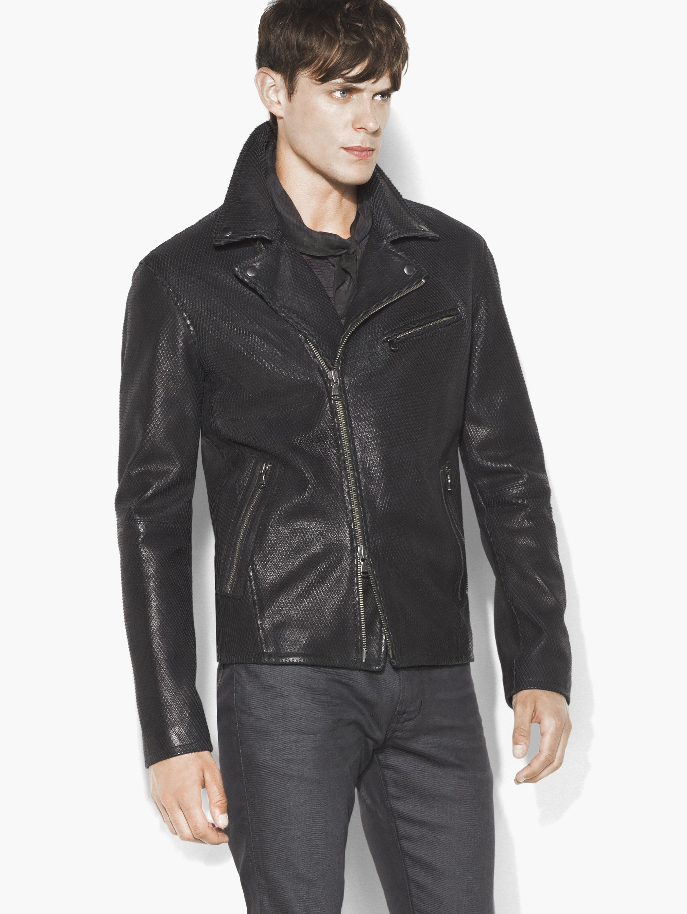 Scaled Leather Moto Jacket