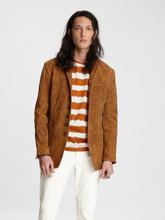 Multi-Button Suede Jacket