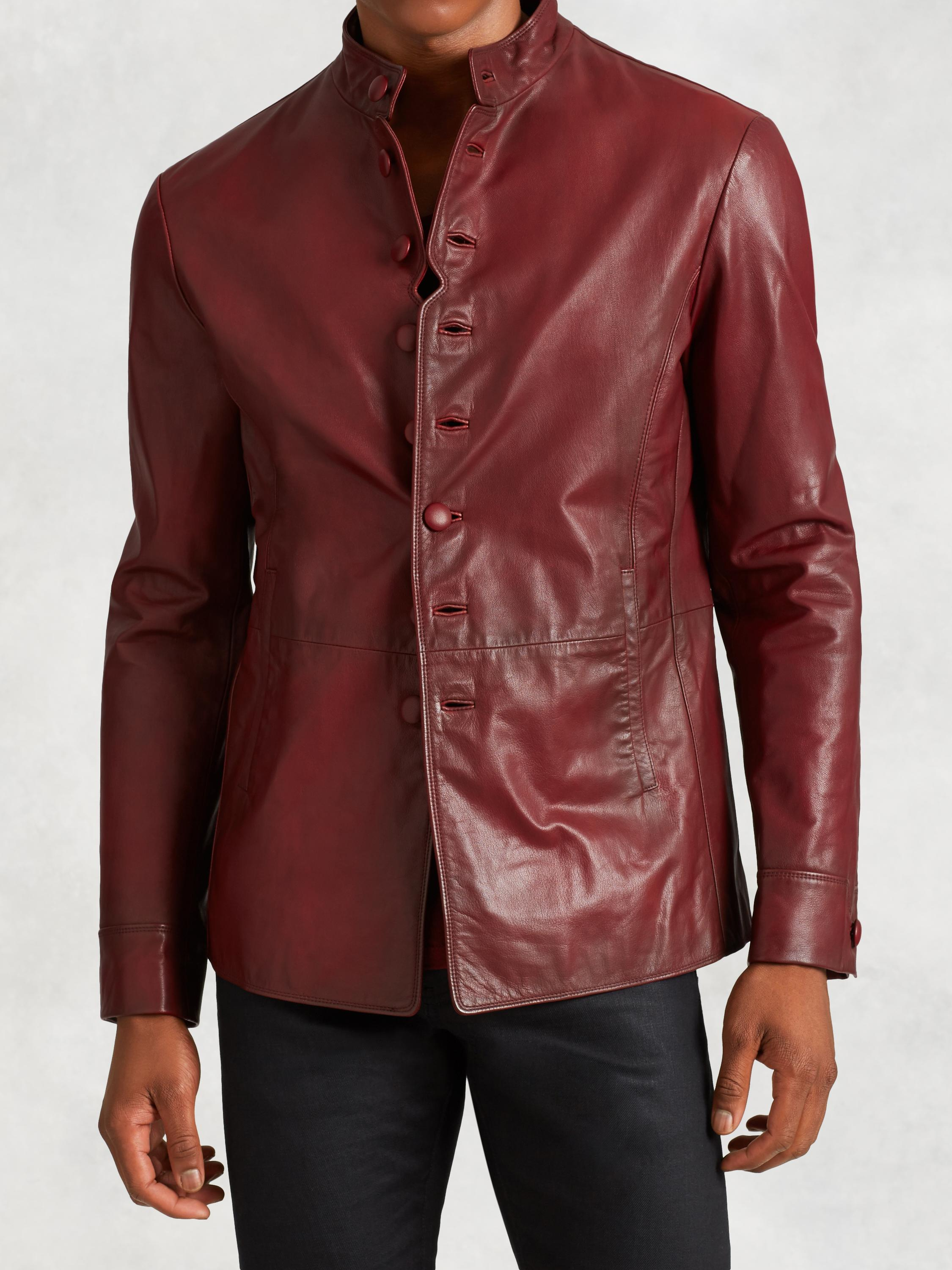 Goatskin Leather Button Jacket