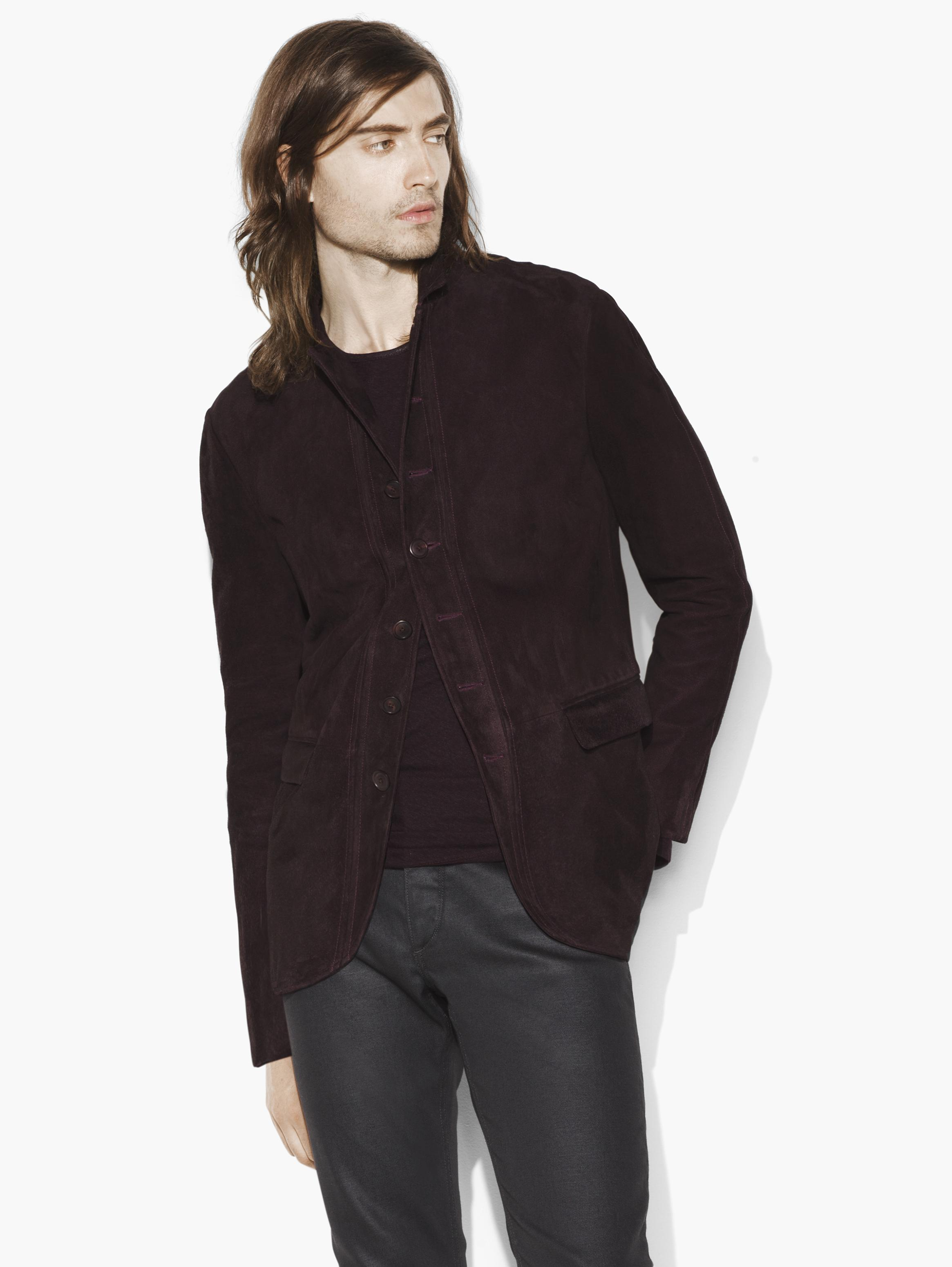 Suede Button Front Jacket