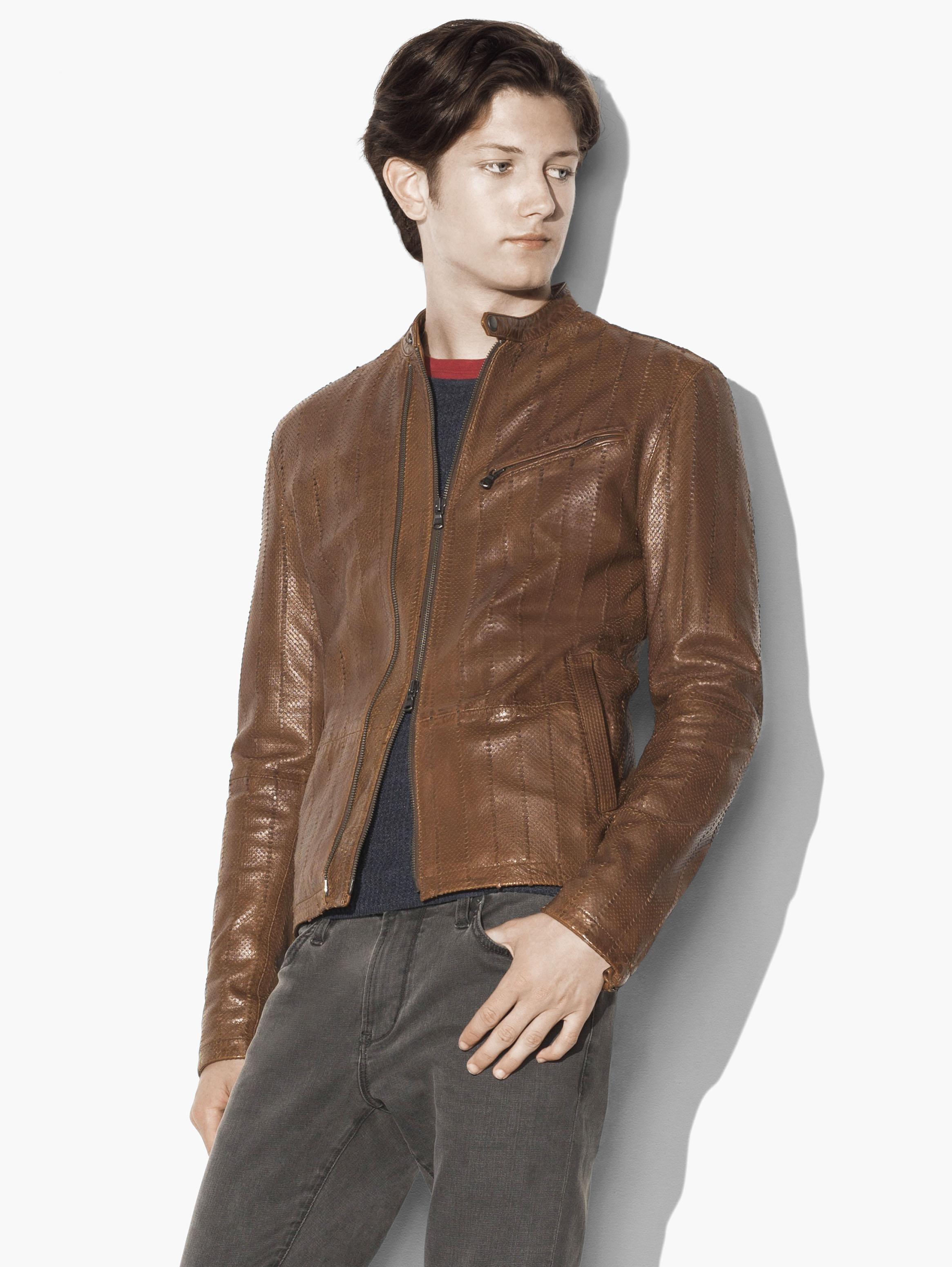 Laser Cut Leather Racer Jacket