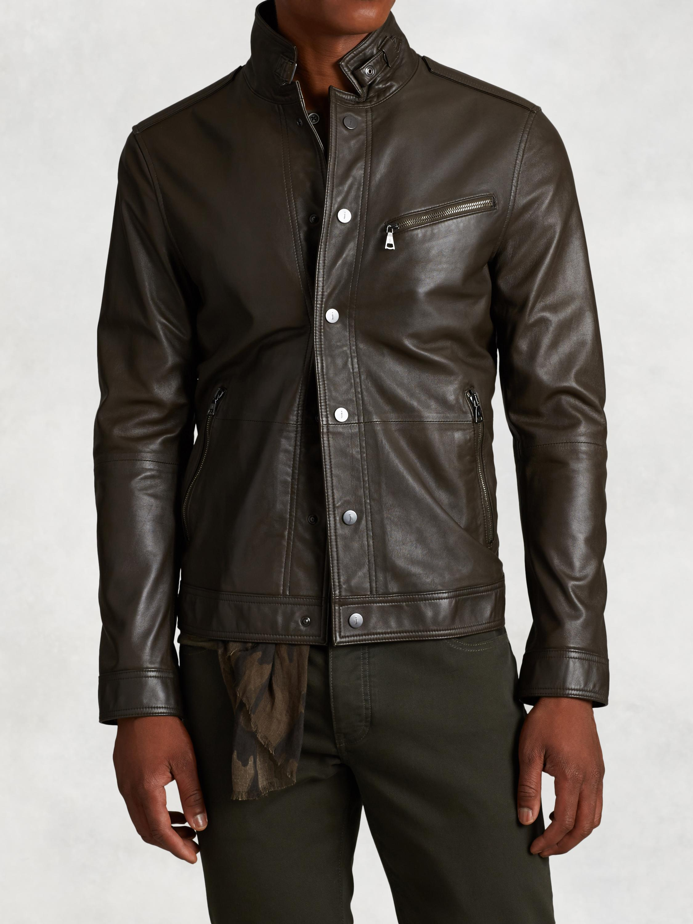 Leather Snap Front Jacket