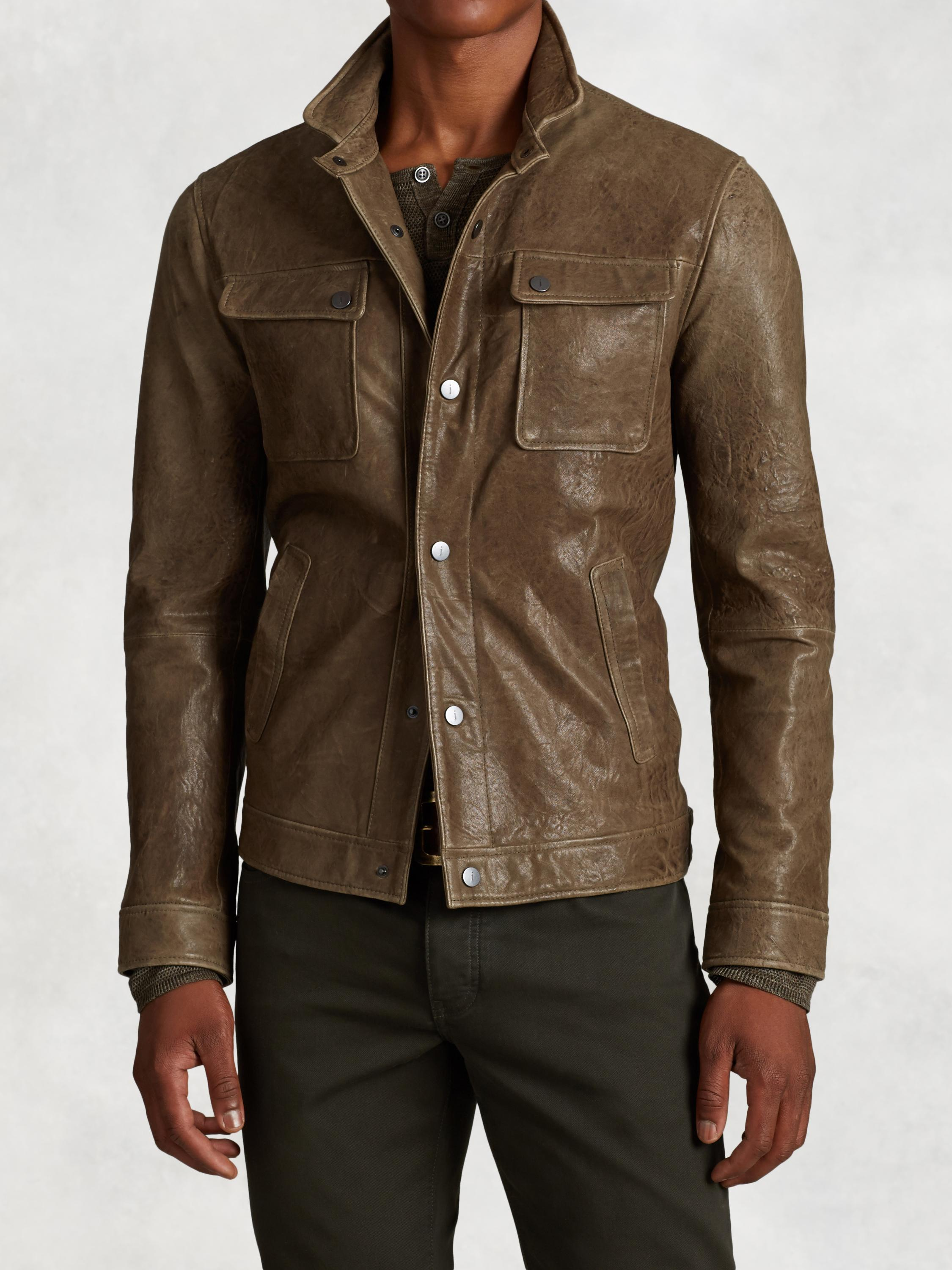 Snap Front Leather Jacket