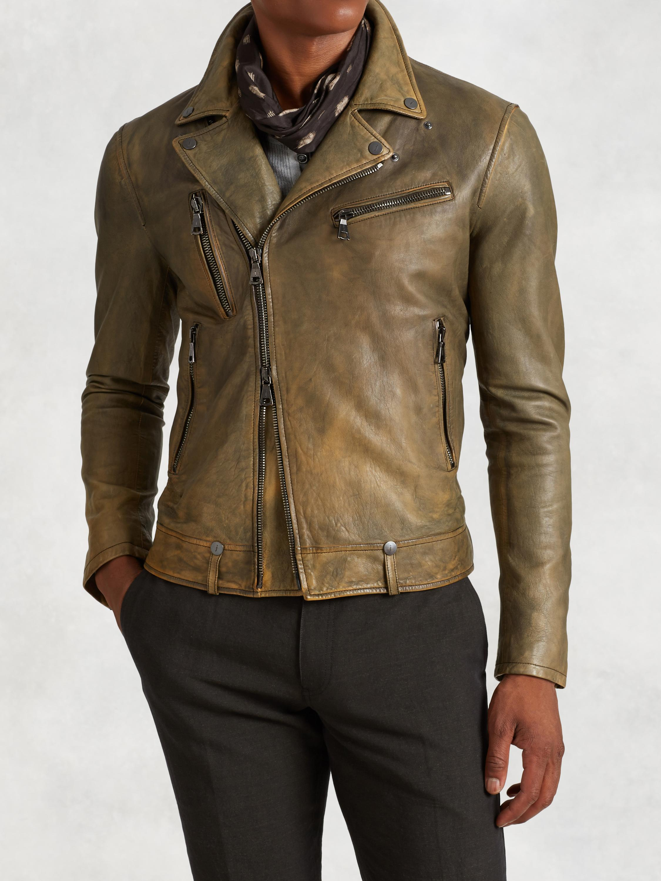 Asymmetrical Leather Biker Jacket
