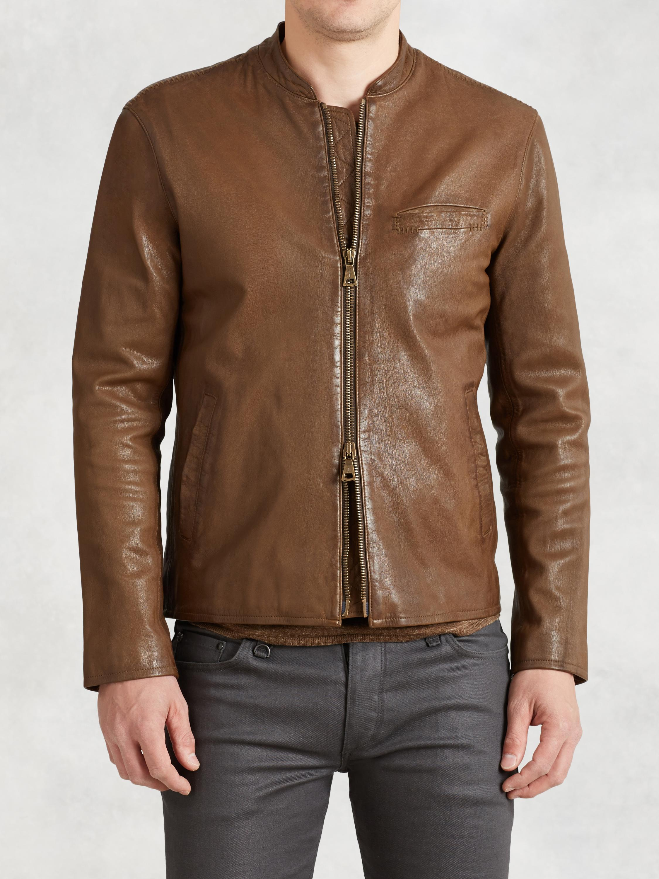Repair Stitch Leather Jacket