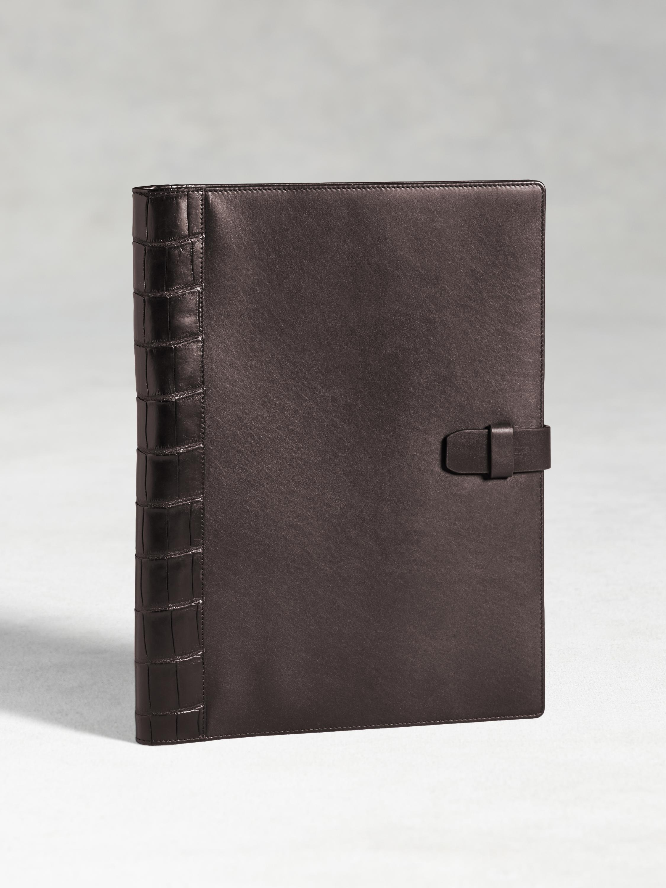 Large Calfskin Notebook Cover With Crocodile Detail