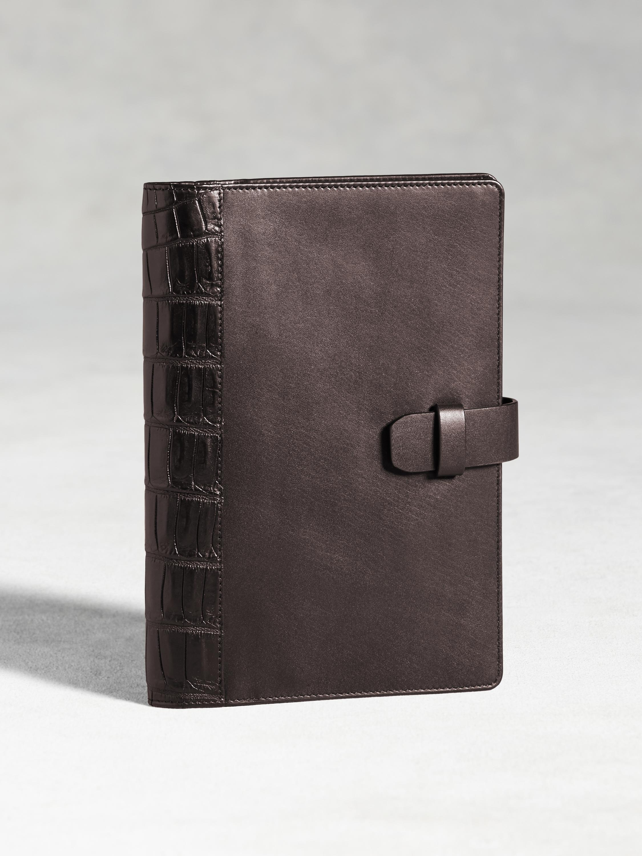 Medium Calfskin Notebook Case With Crocodile Overlay
