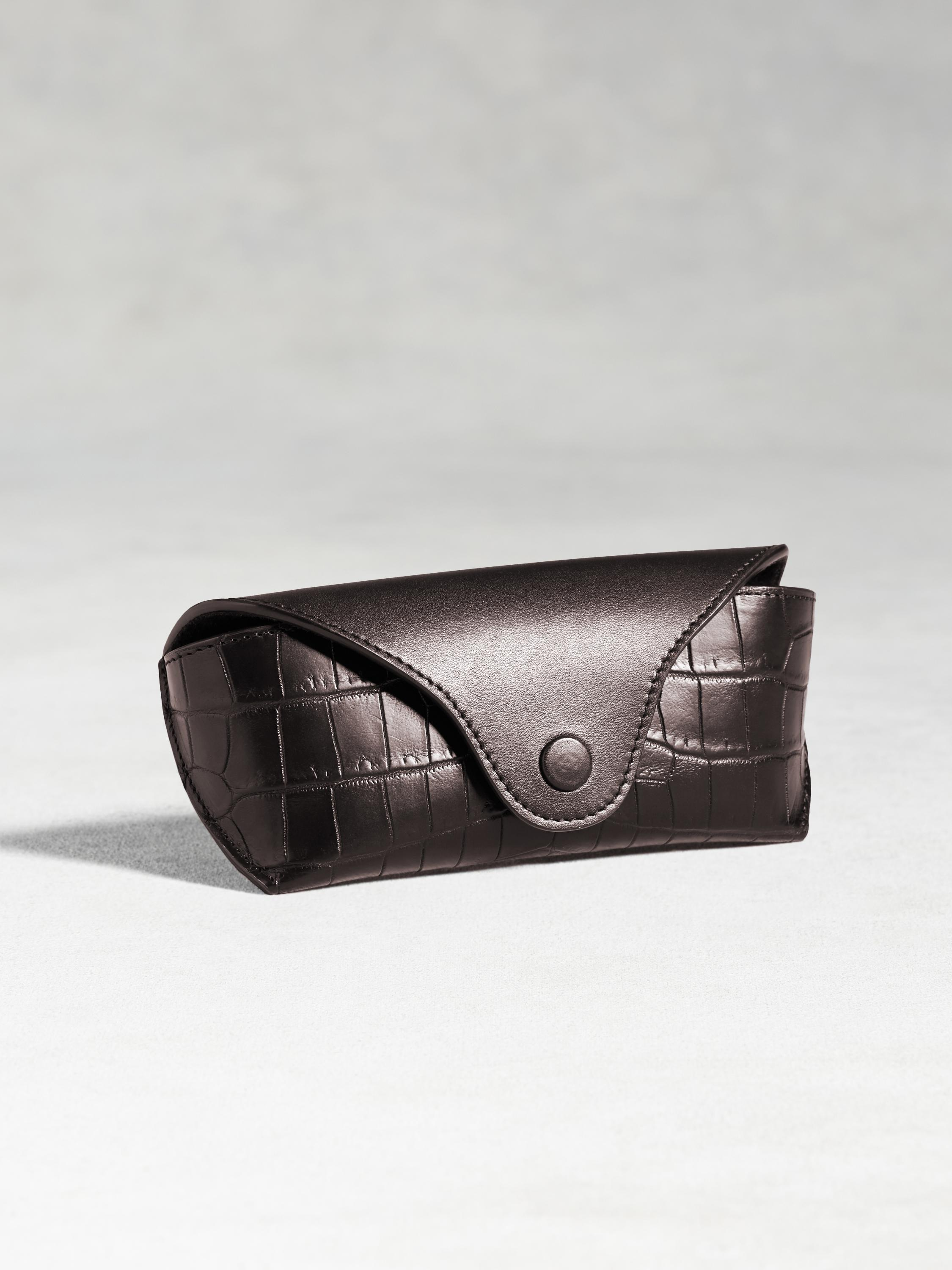 Calfskin Eyeglass Case With Crocodile Detail
