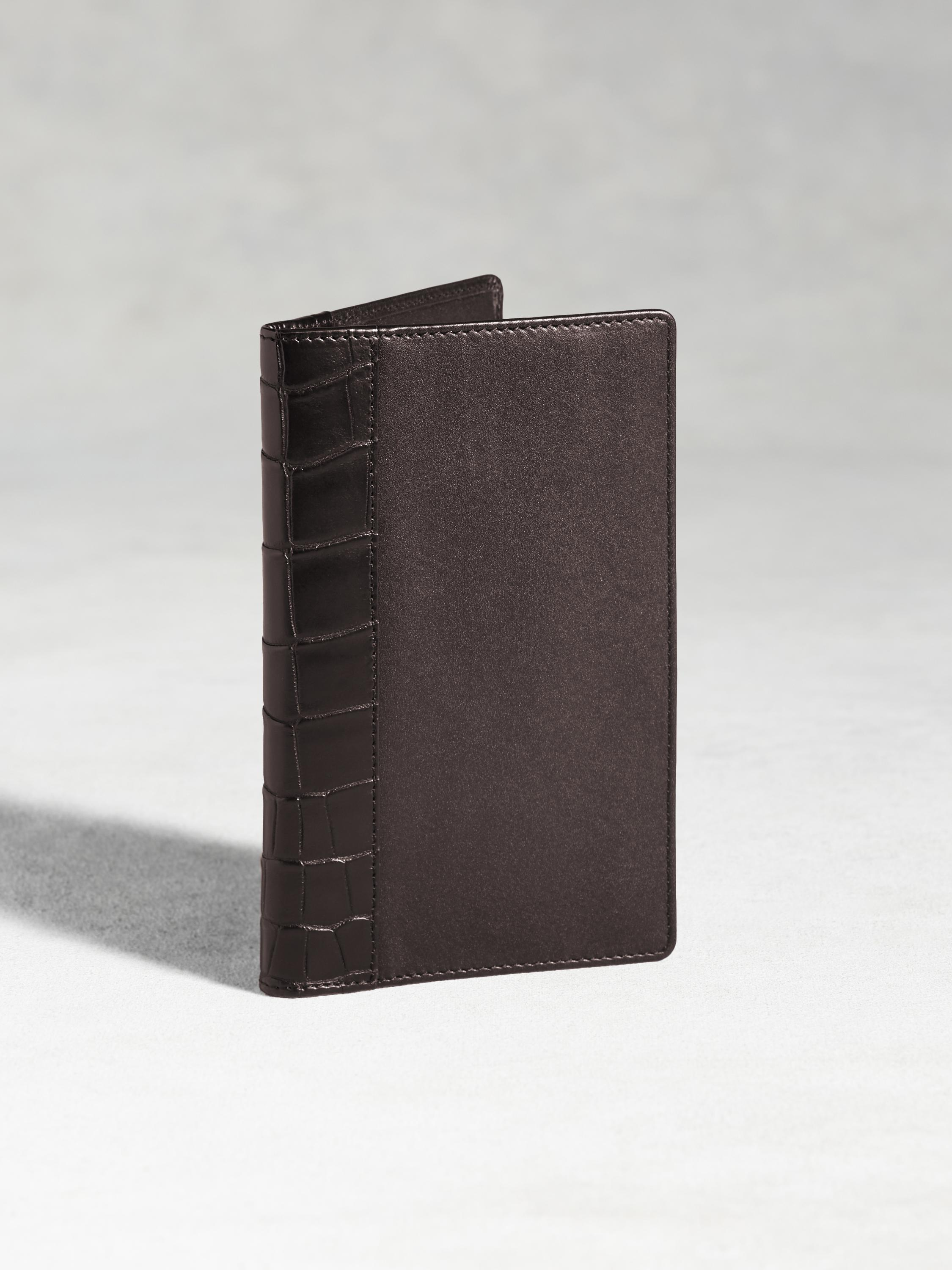 Calfskin Pocket Wallet With Crocodile Detail