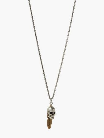 Mixed Metal Skull & Feather Necklace