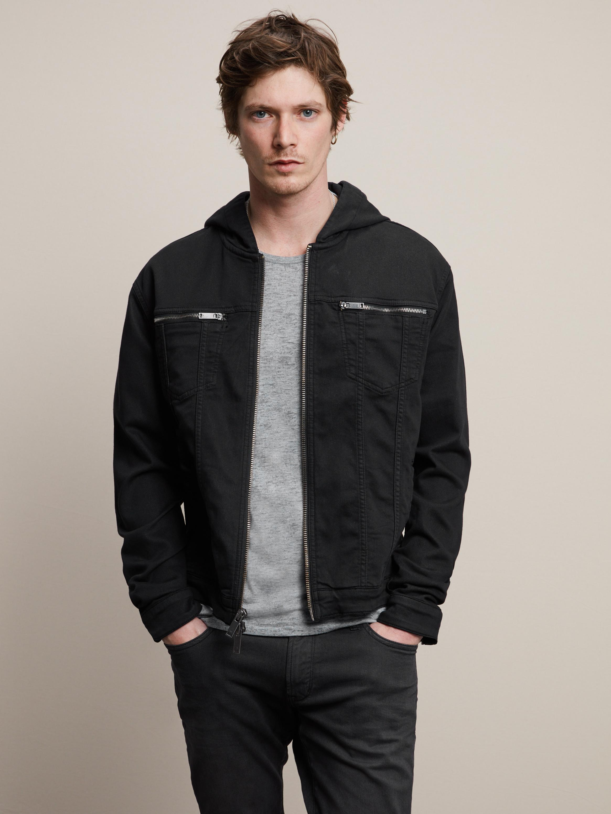 Denim Style Hooded Jacket