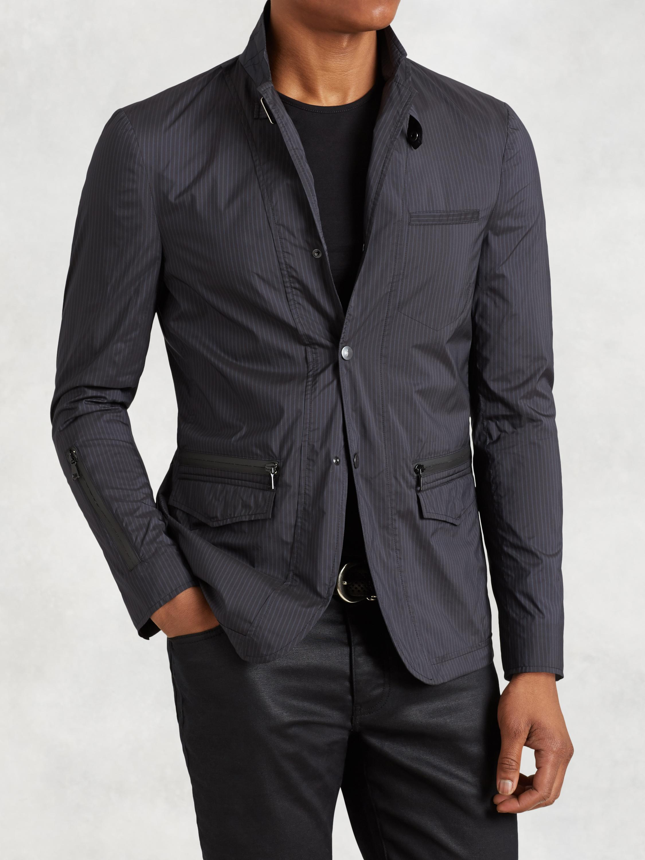 Convertible Lapel Nylon Jacket