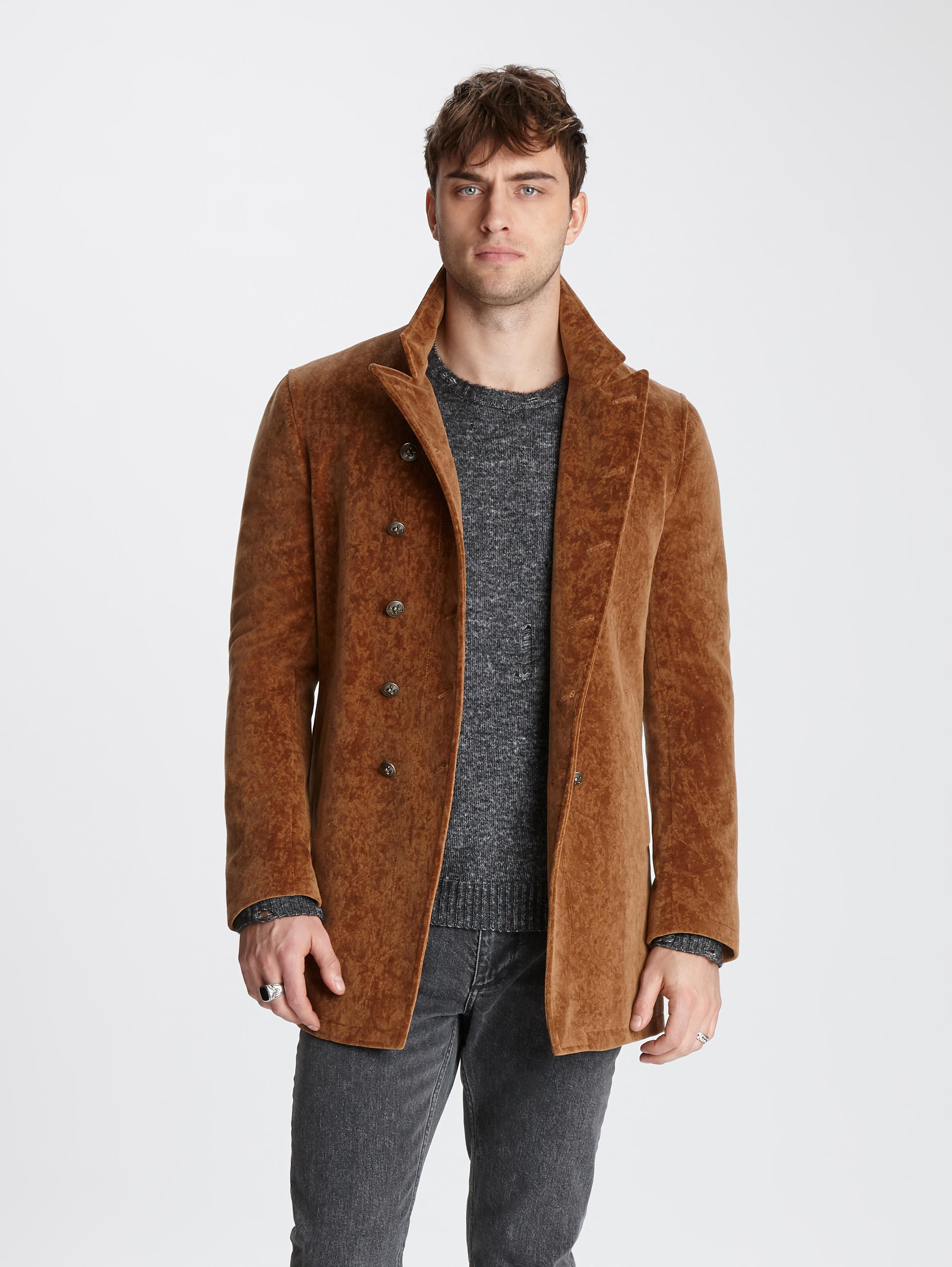 John Varvatos Corduroy Double-Breasted Coat Canvas