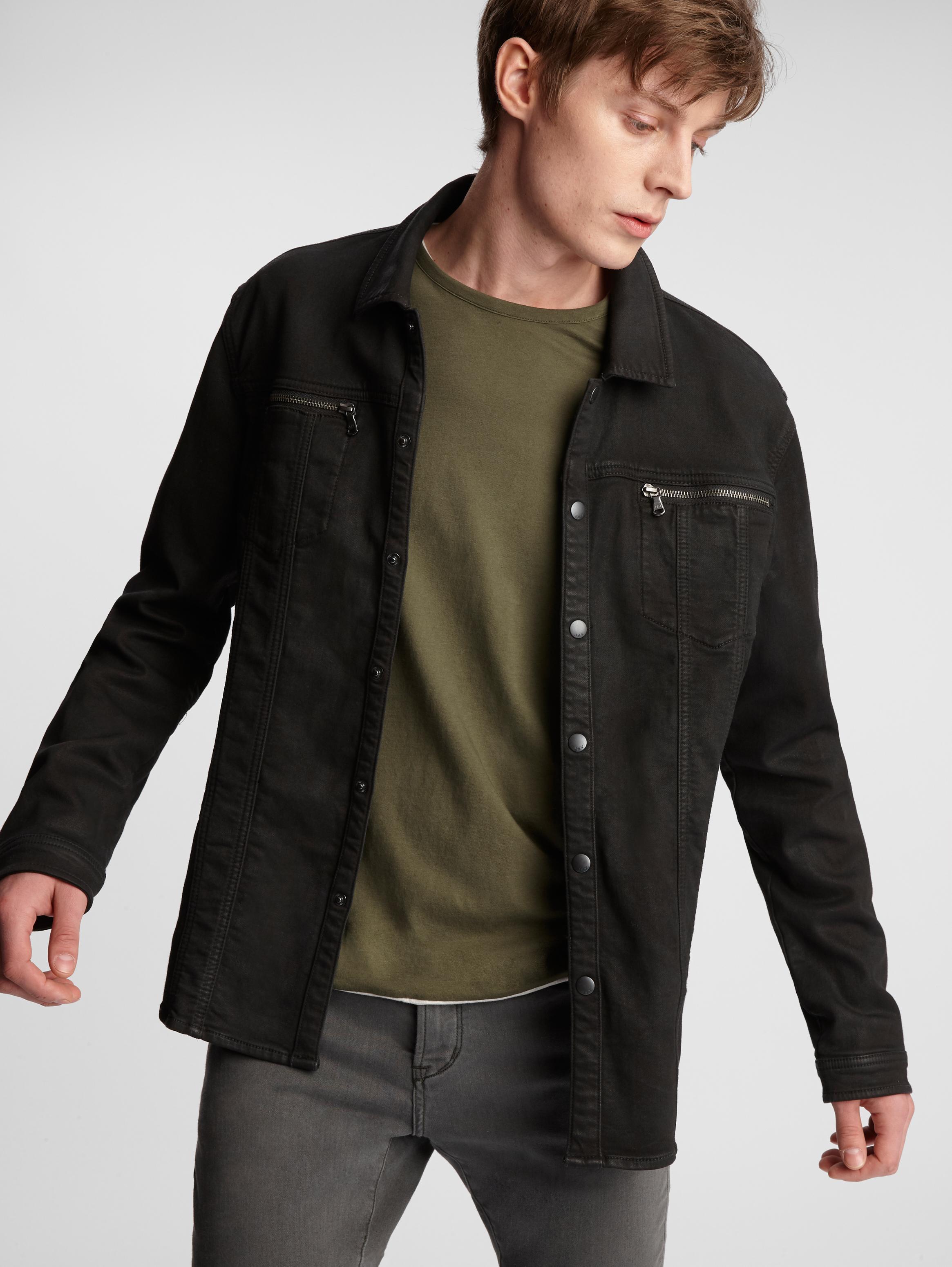John Varvatos Knit Shirt Jacket Dark Grey