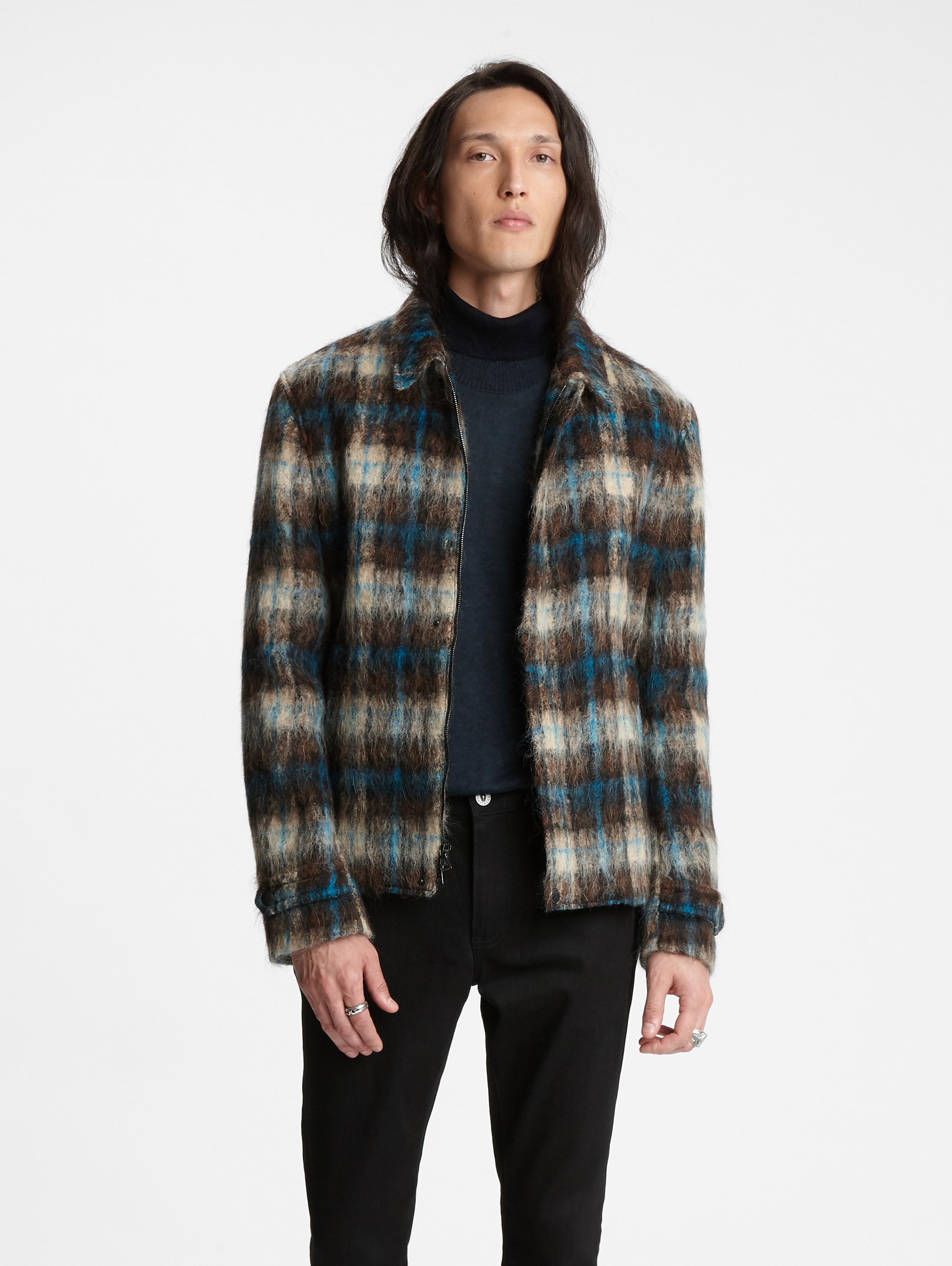 John Varvatos Alpaca Plaid Jacquard Jacket Charc Brown