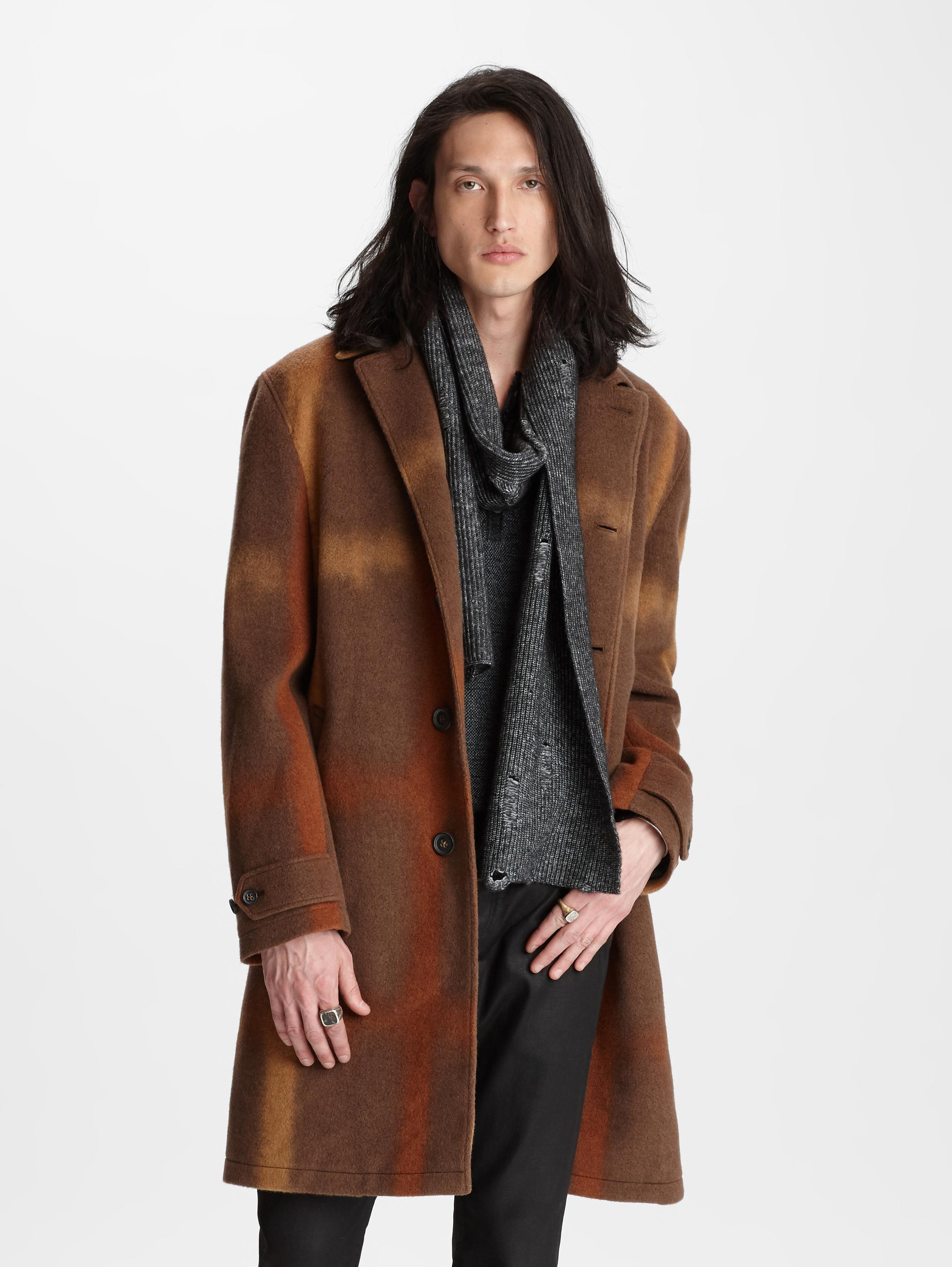 John Varvatos Abstract Long Coat Canvas