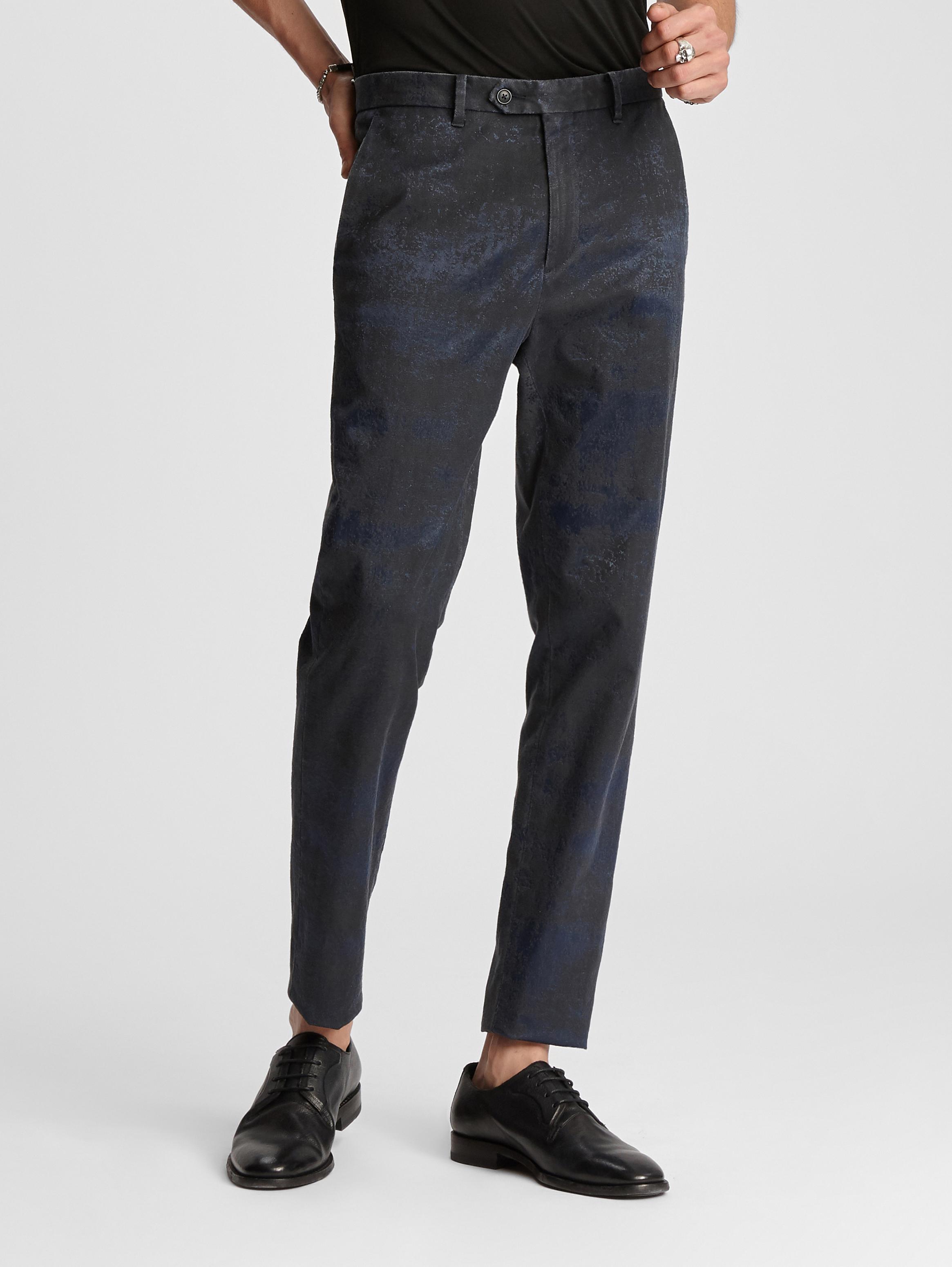 John Varvatos Abstract Jacquard Essex Pant Dark Blue