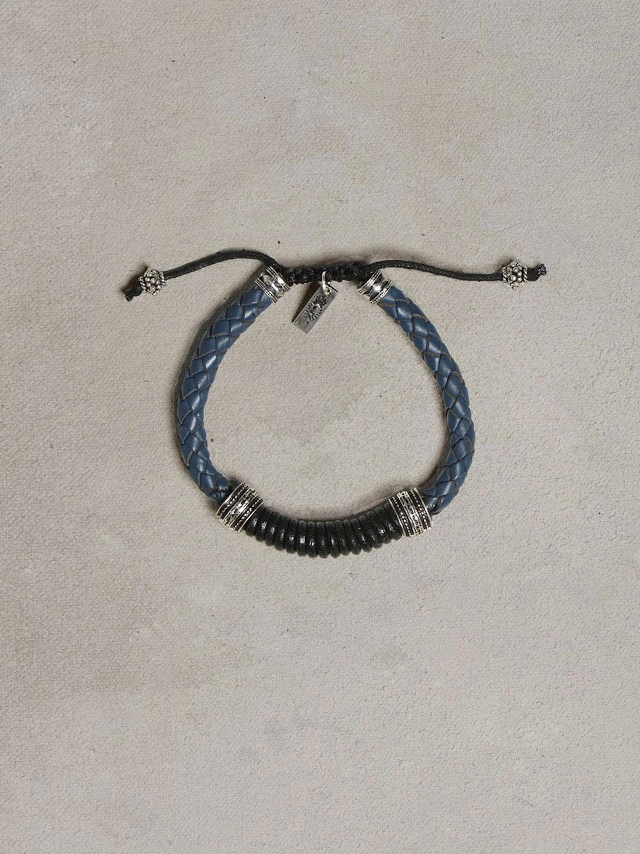 Braided Blue & Black Leather Bracelet