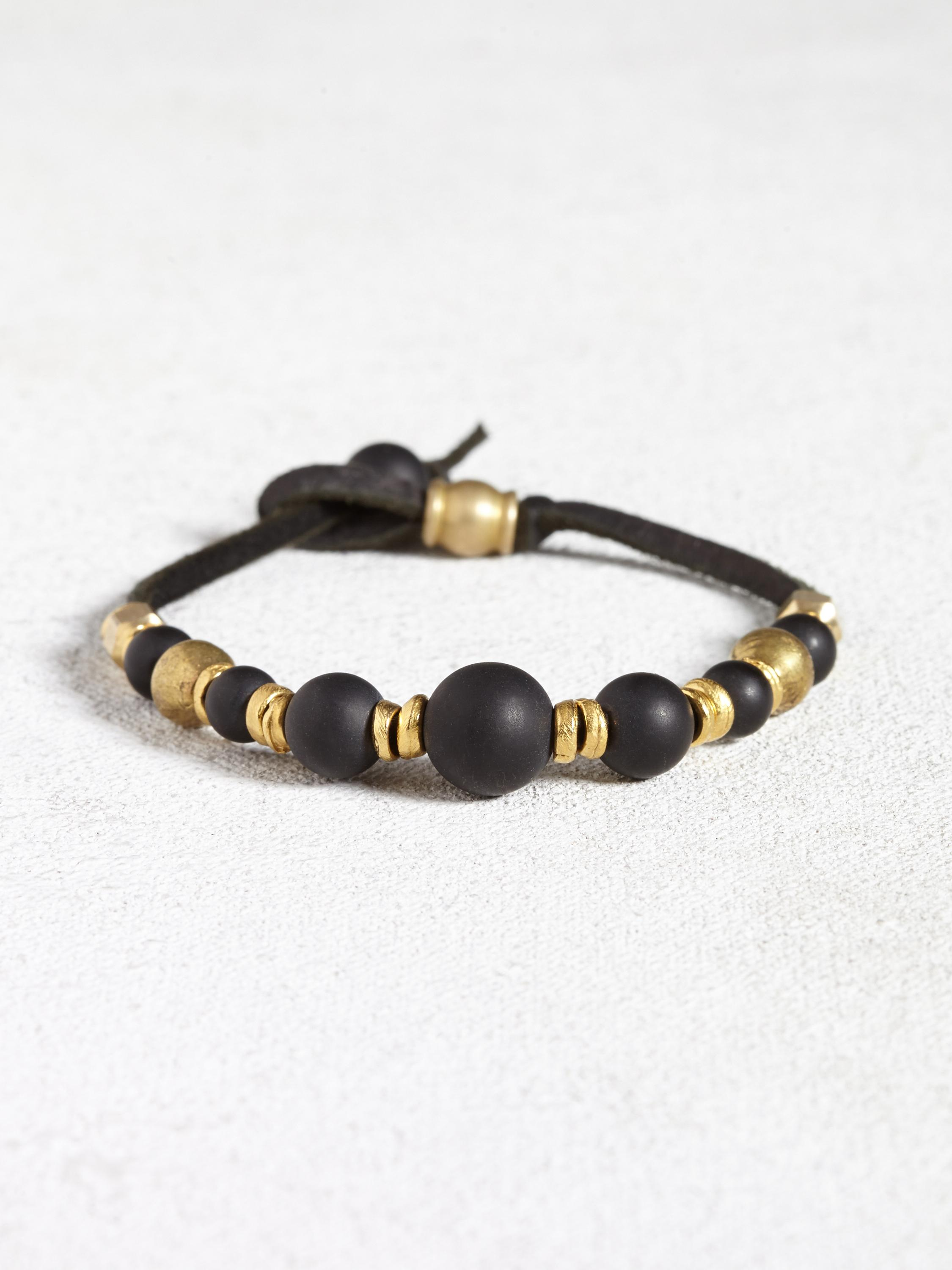 Leather Bracelet with Brass and Onyx Beads