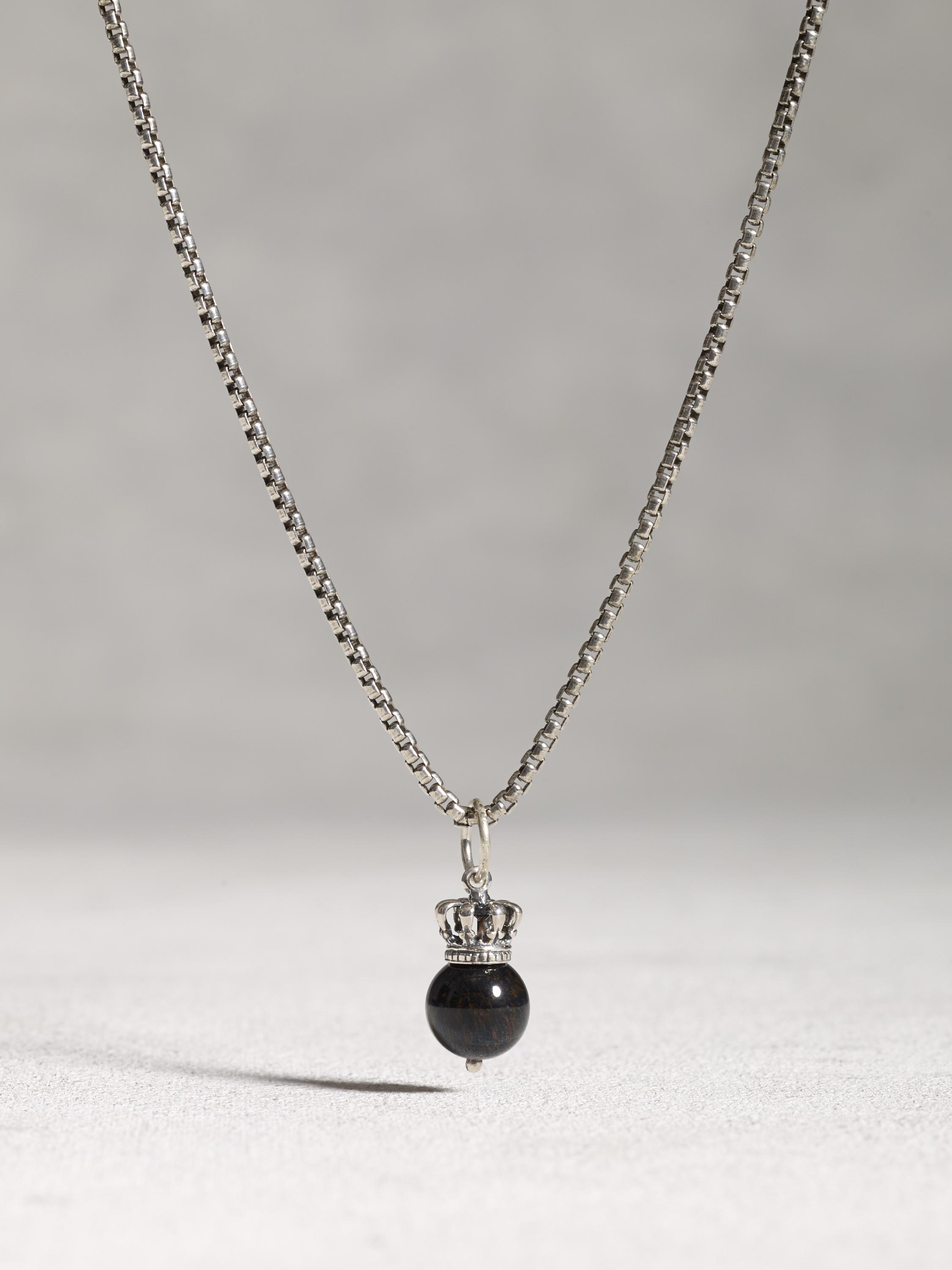 Crowned Cats Eye Ball and Chain Necklace
