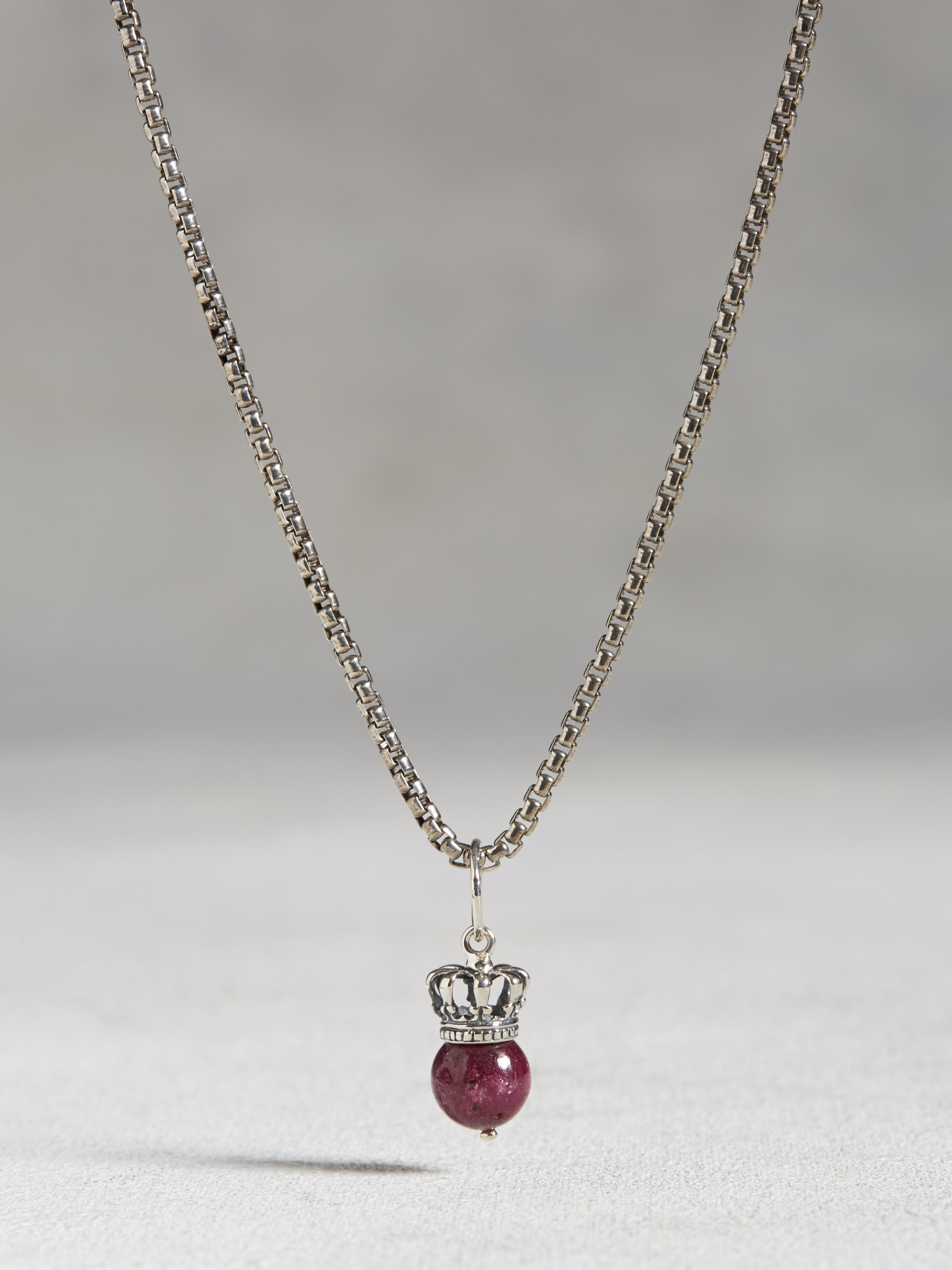 Crowned Ruby Ball and Chain Necklace