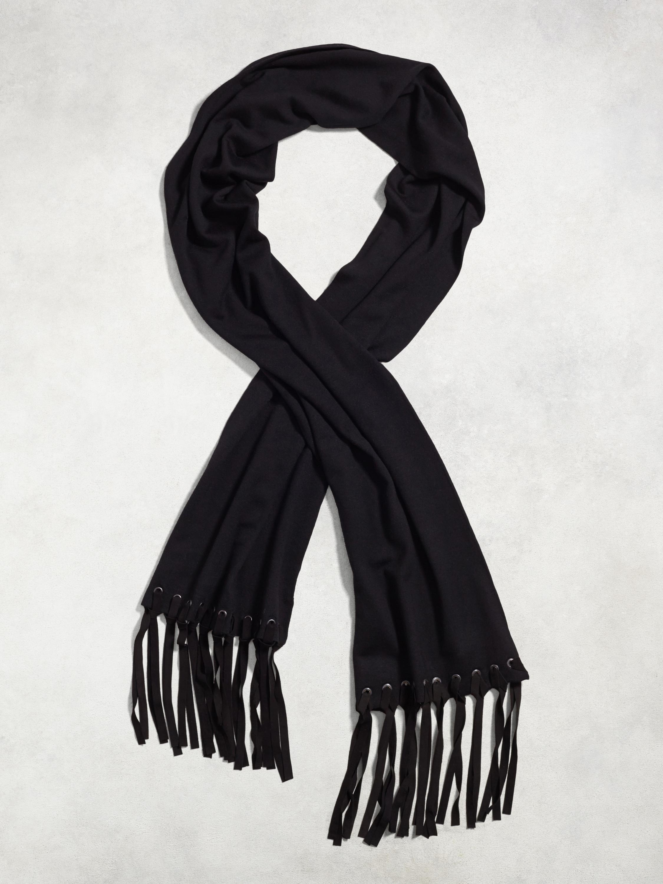 Merino Knit Scarf With Suede Tassels