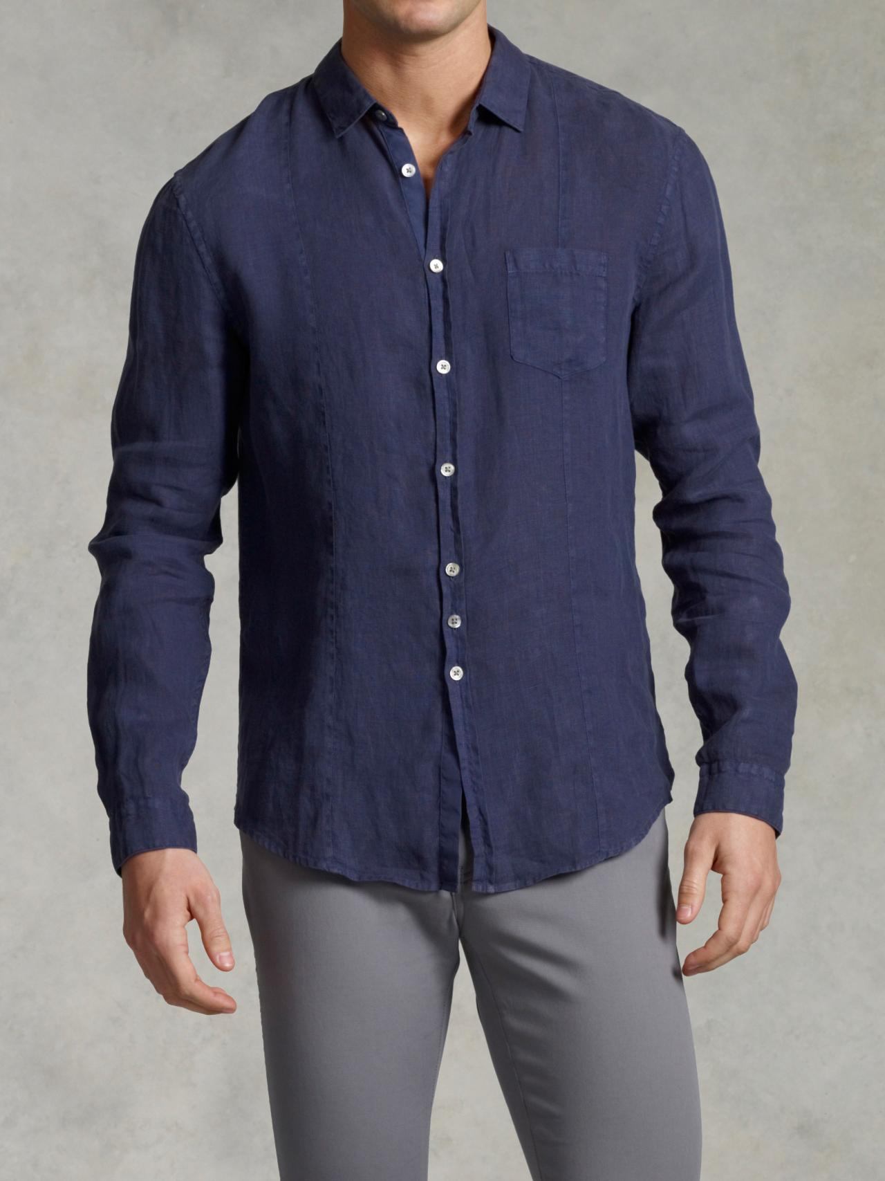Slim Fit Linen Button-Up Shirt