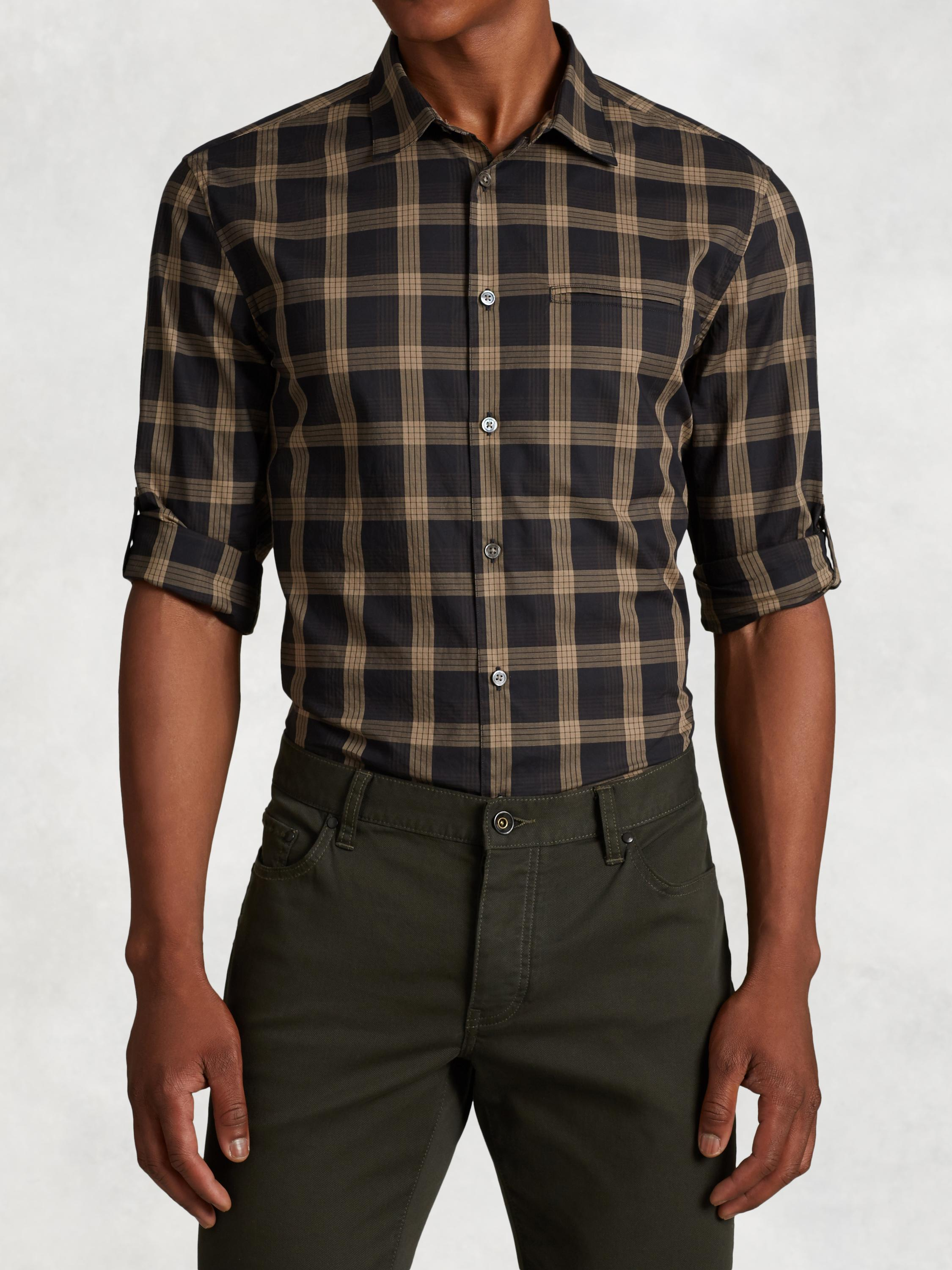 Cotton Rolled Sleeve Plaid Shirt