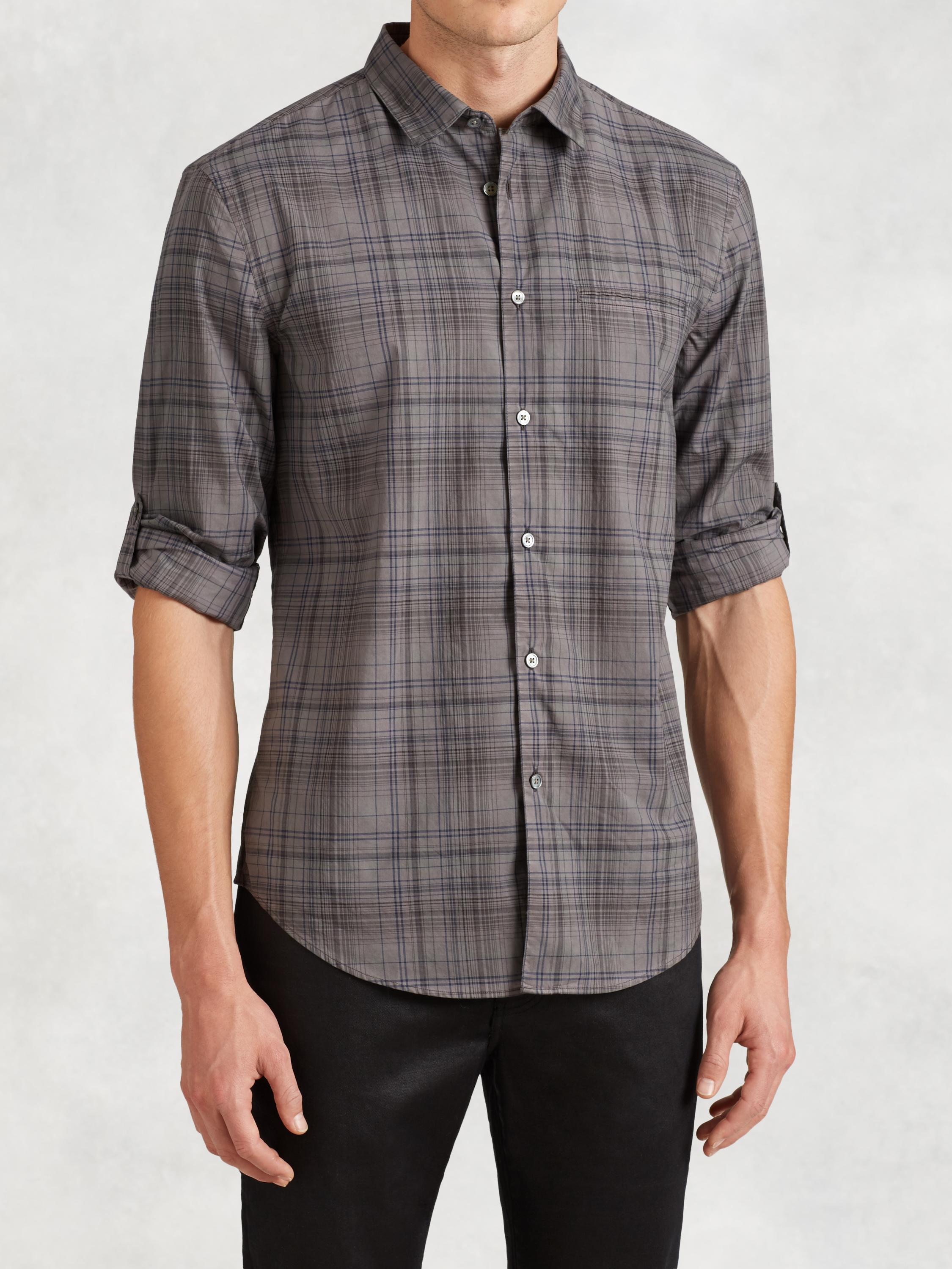 Slim Fit Plaid Button-Down Shirt
