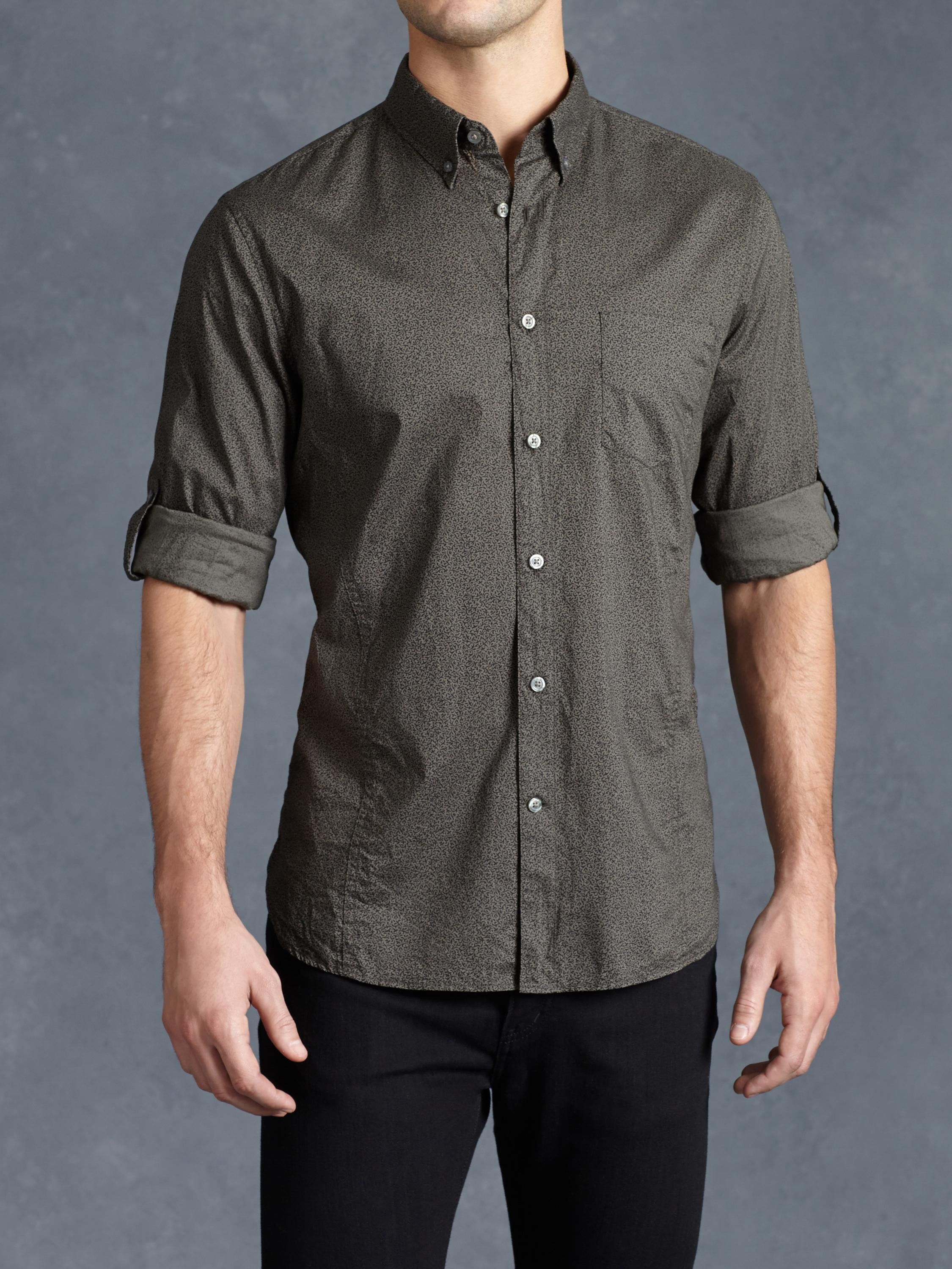 Cotton Abstract Rolled Sleeve Shirt