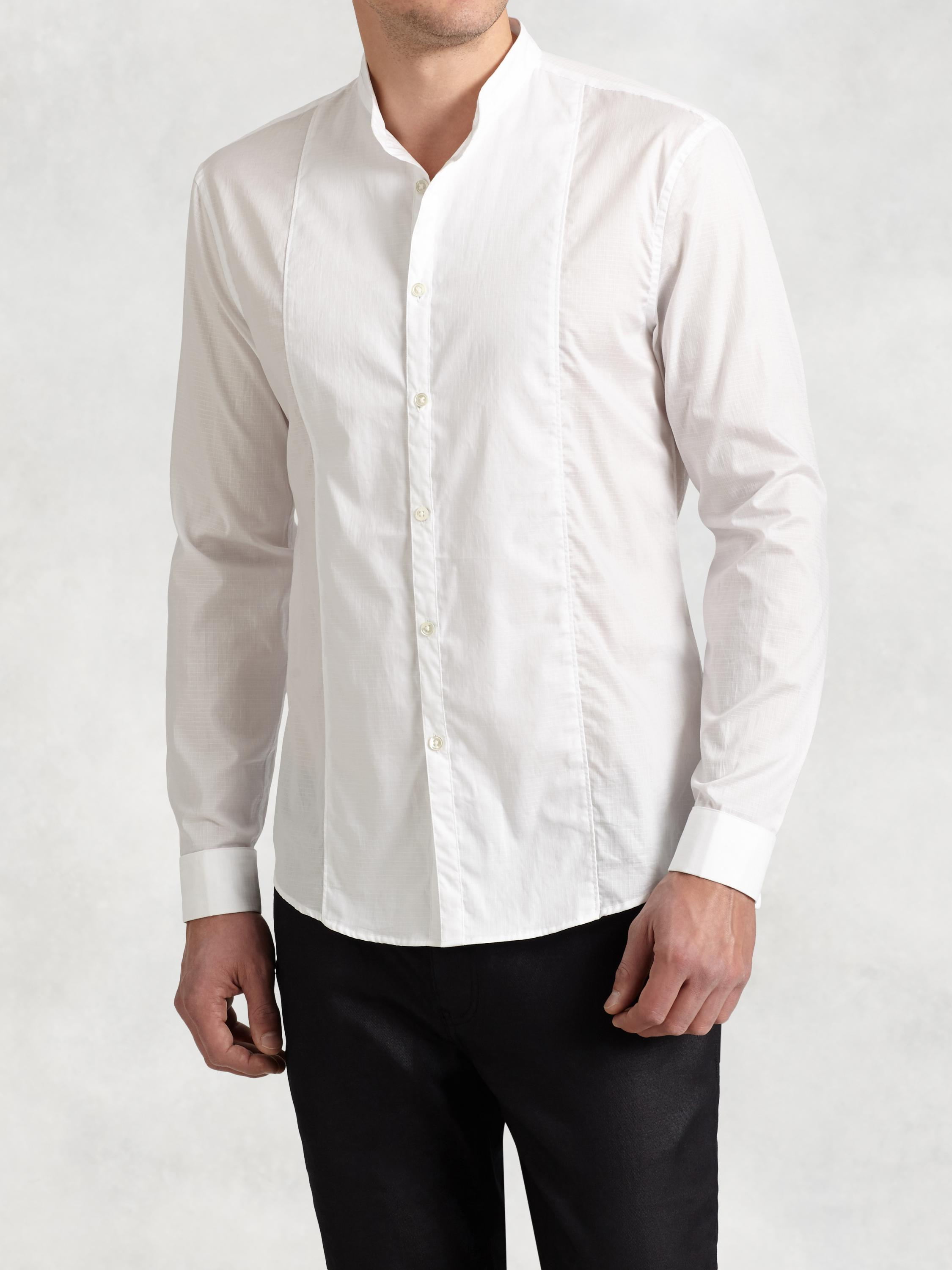 Cotton Shirt with Layered Collar