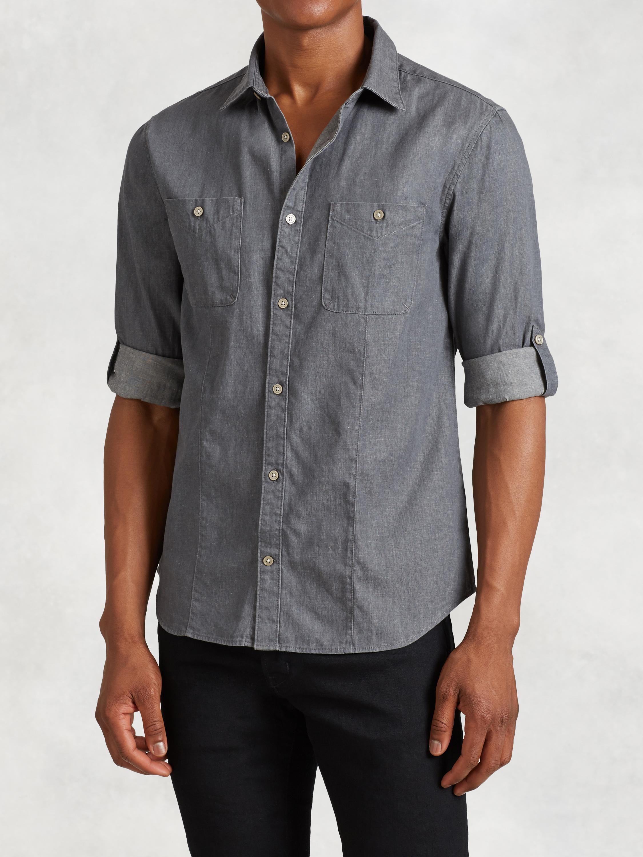 Cotton Linen Rolled Sleeve Shirt