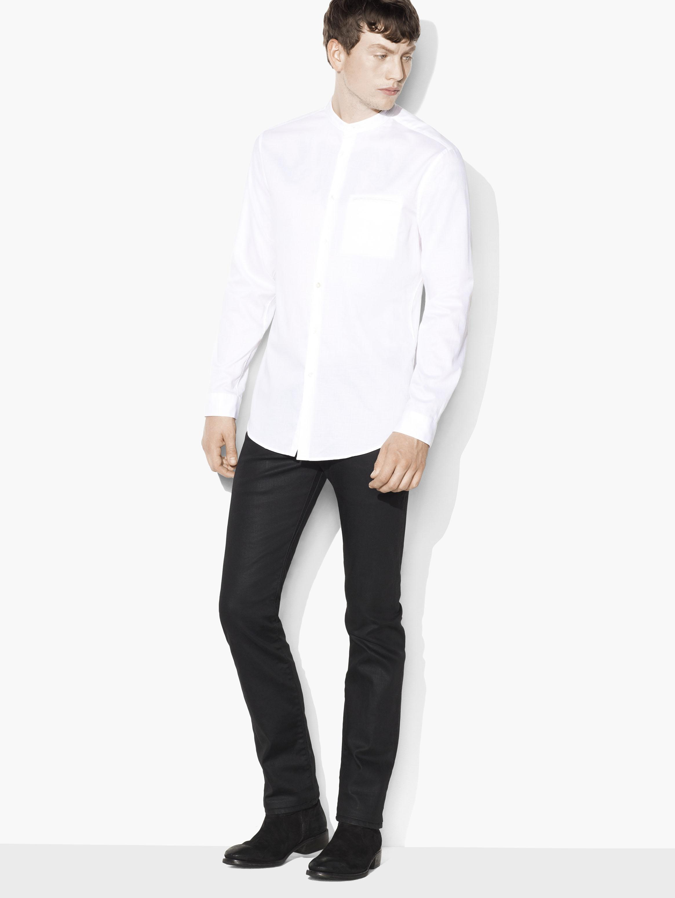 Cotton Pique Banded Collar Shirt