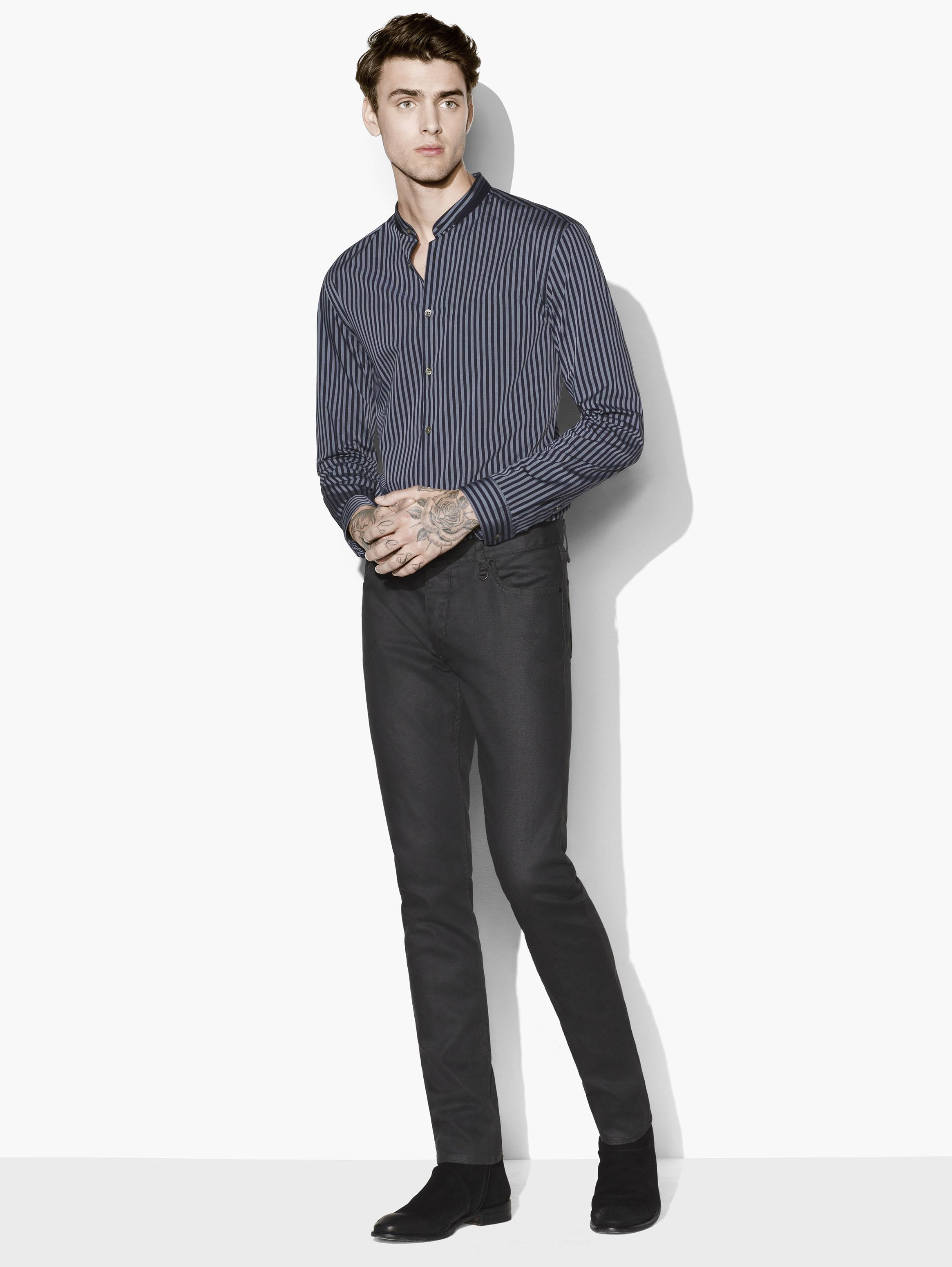 SLIM FIT SHIRT WITH DOUBLE LAYERED STAND COLLAR