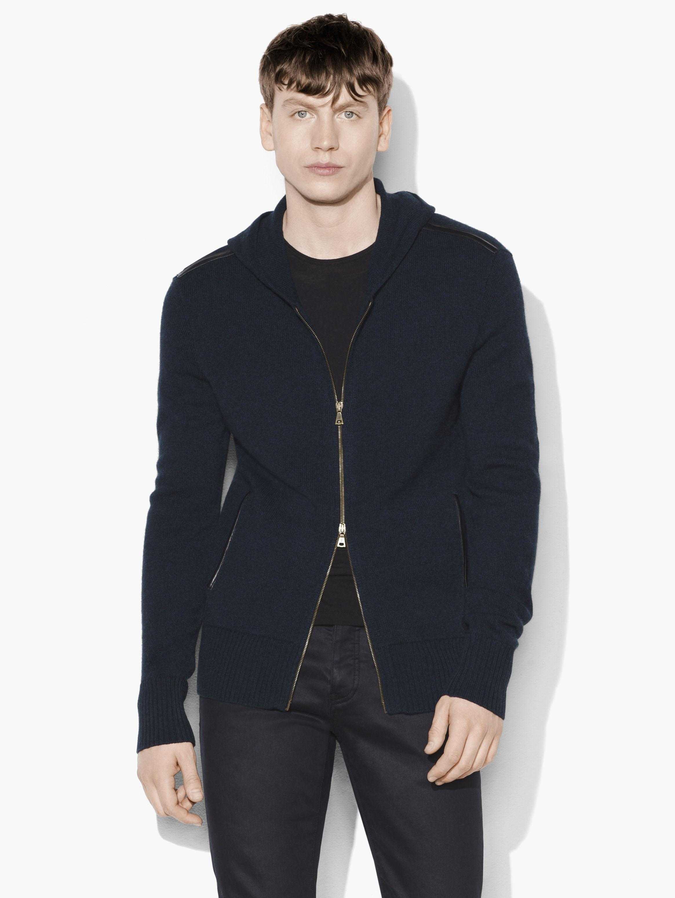 Cashmere Leather Trim Hoodie