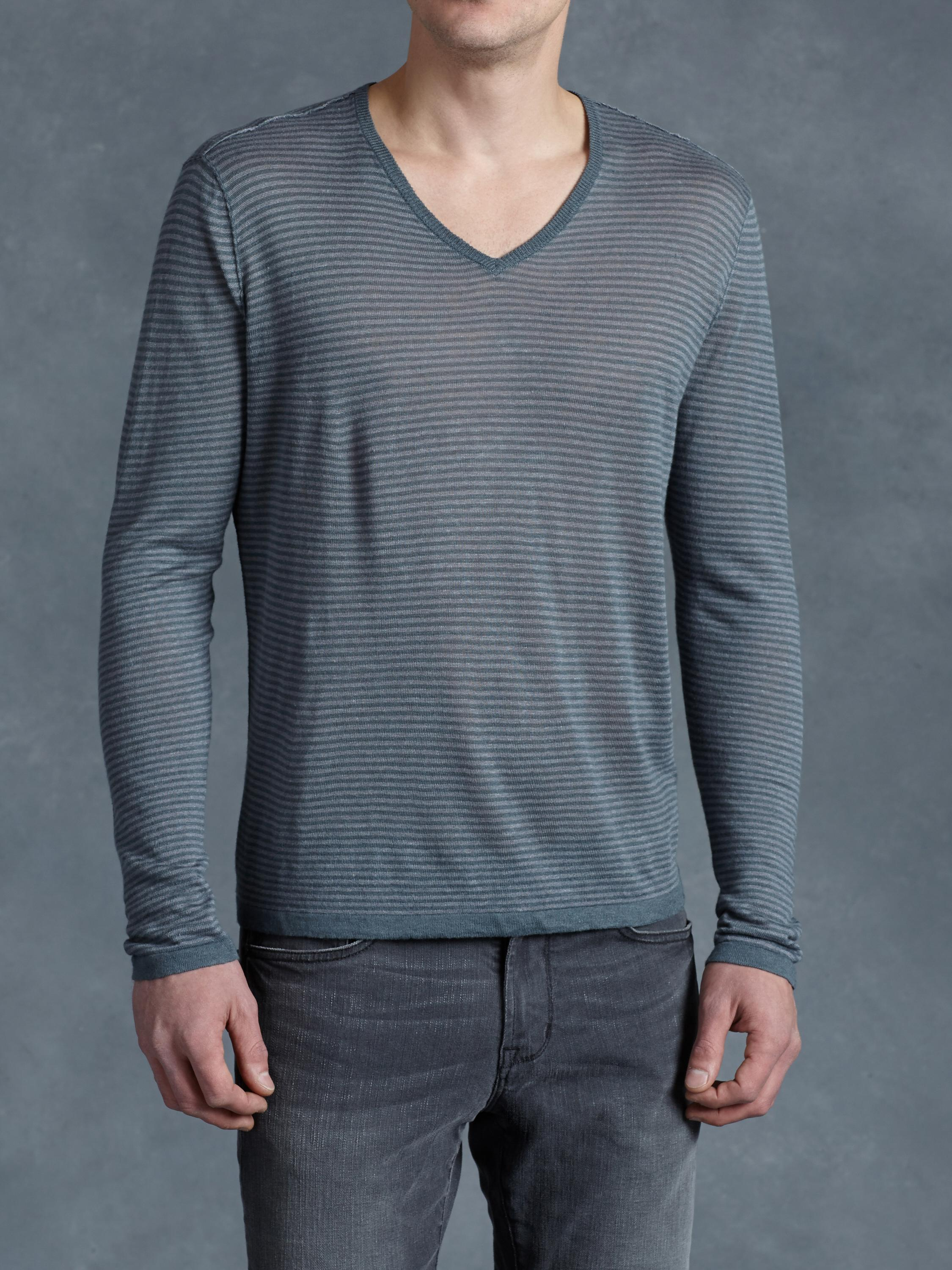 Linen Stripe V-Neck