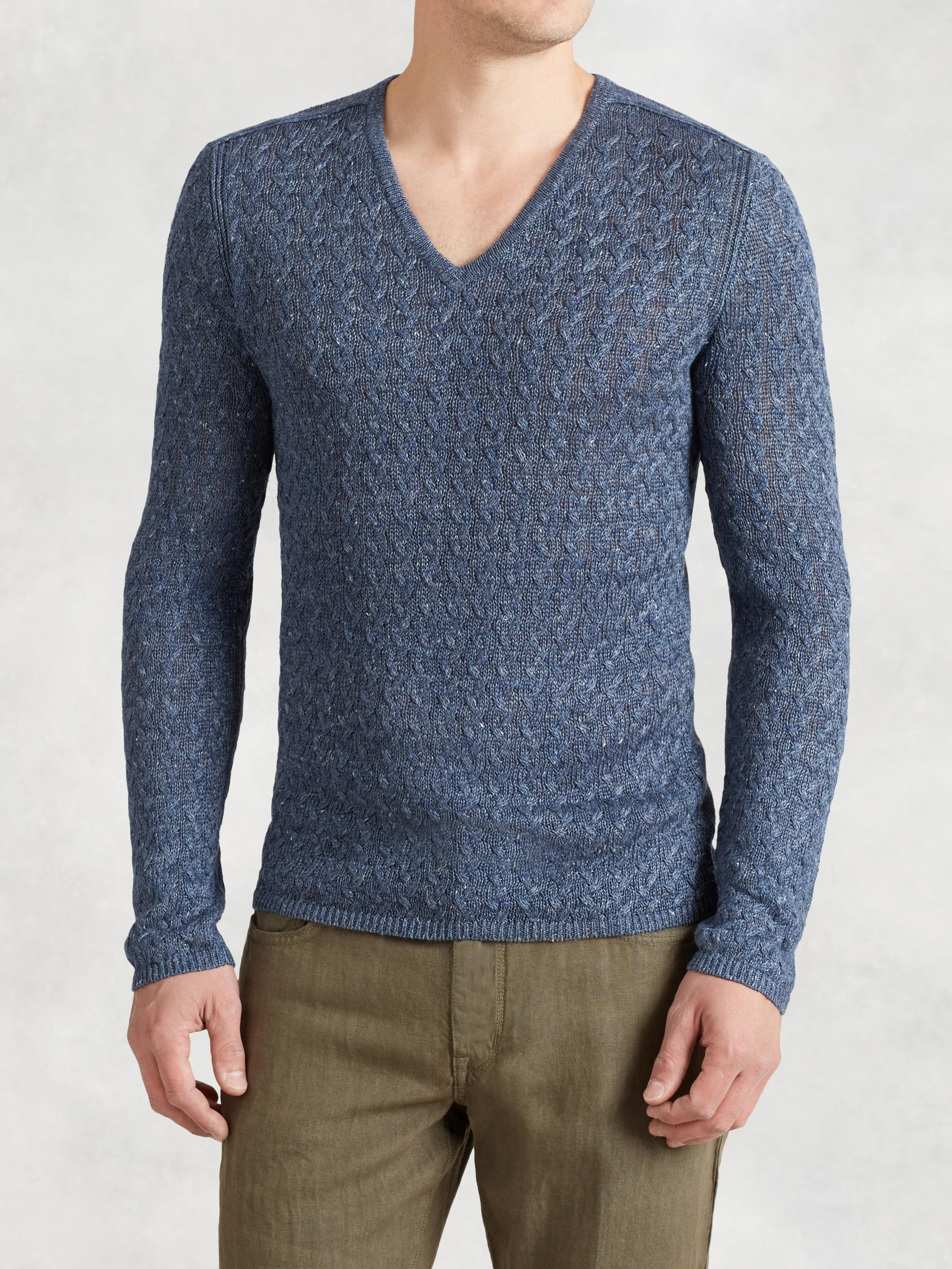 Linen Cable V-Neck