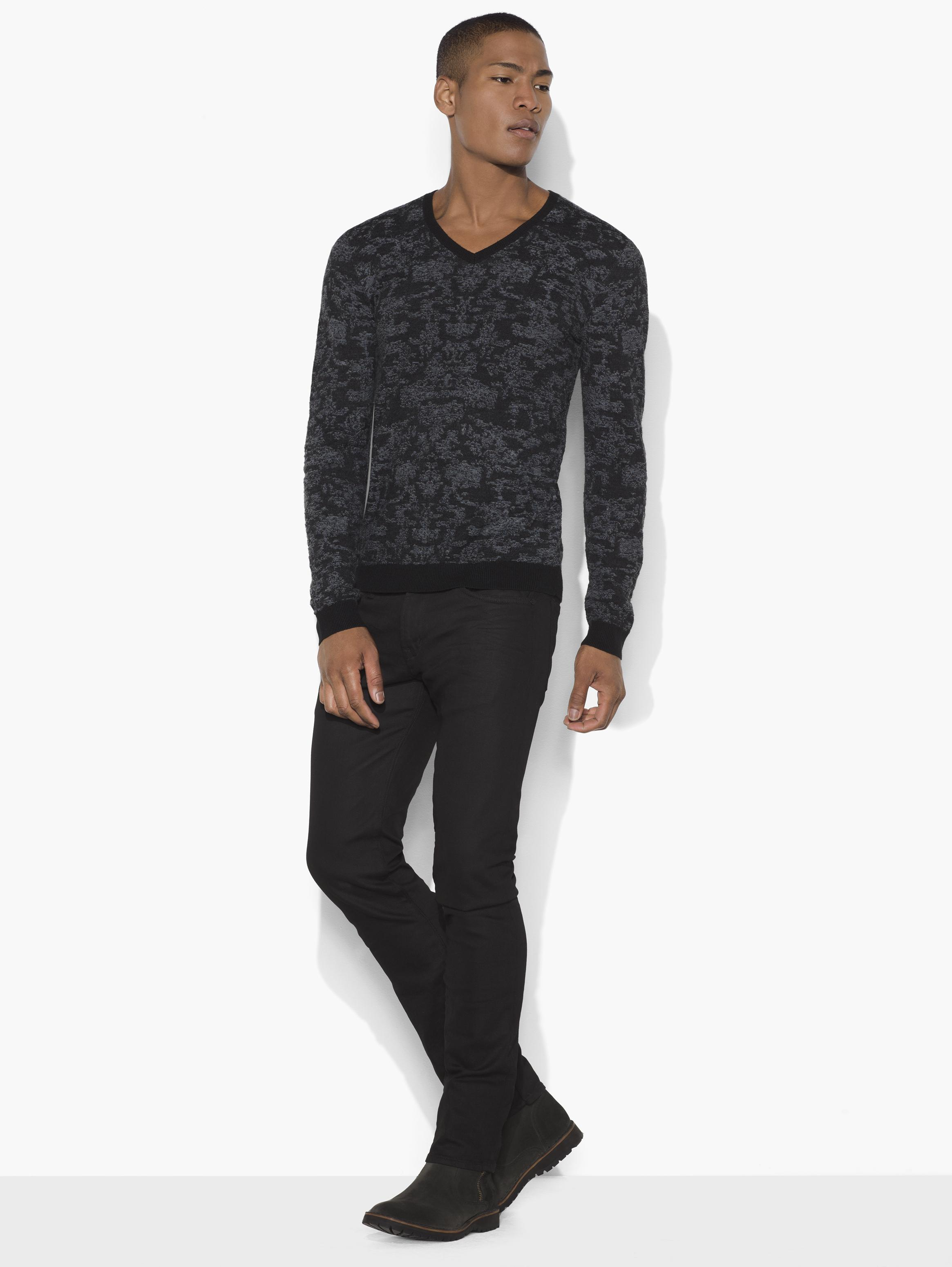 Pixelated V-Neck Sweater