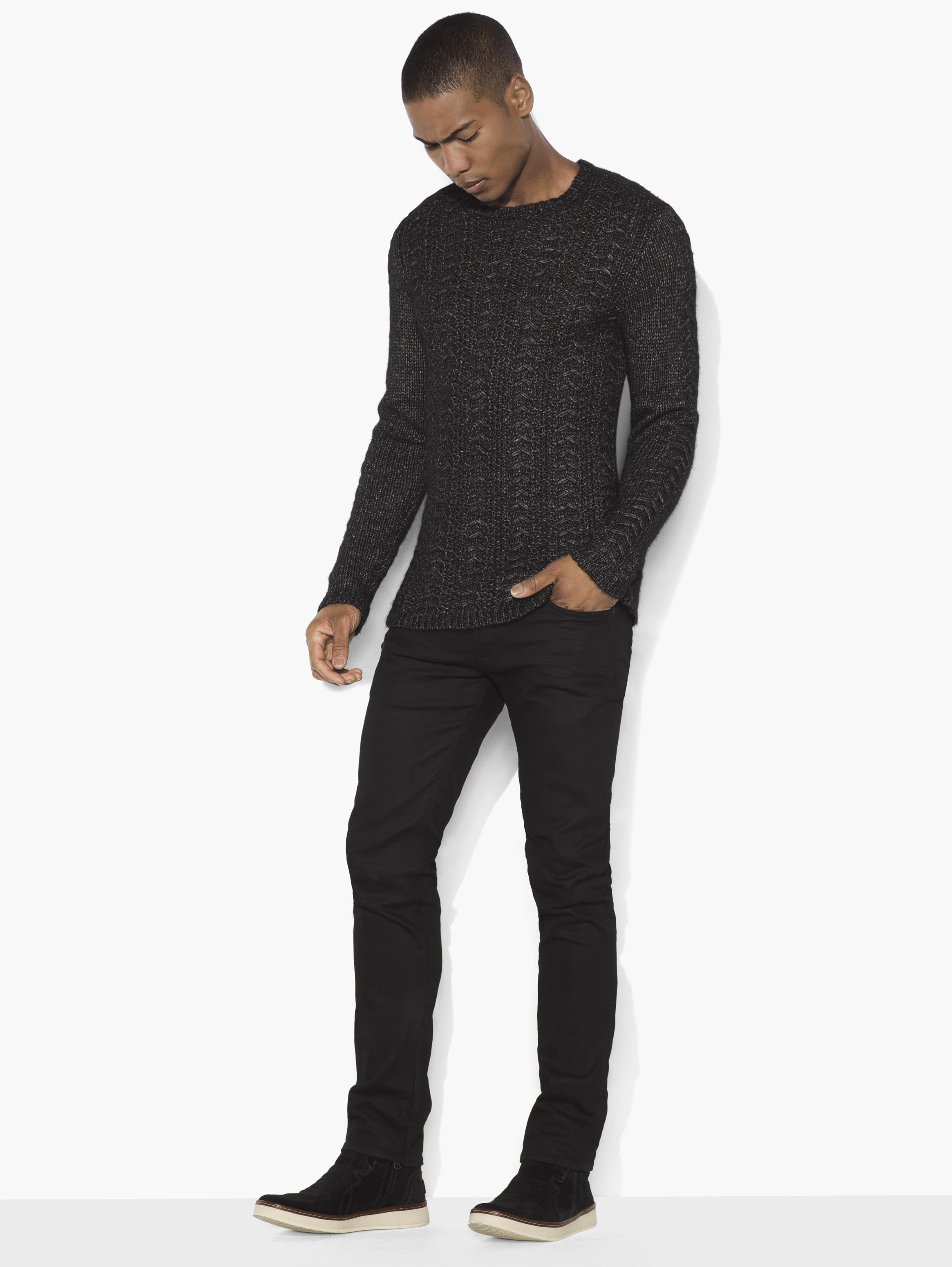 Lattice Stitch Crewneck Sweater