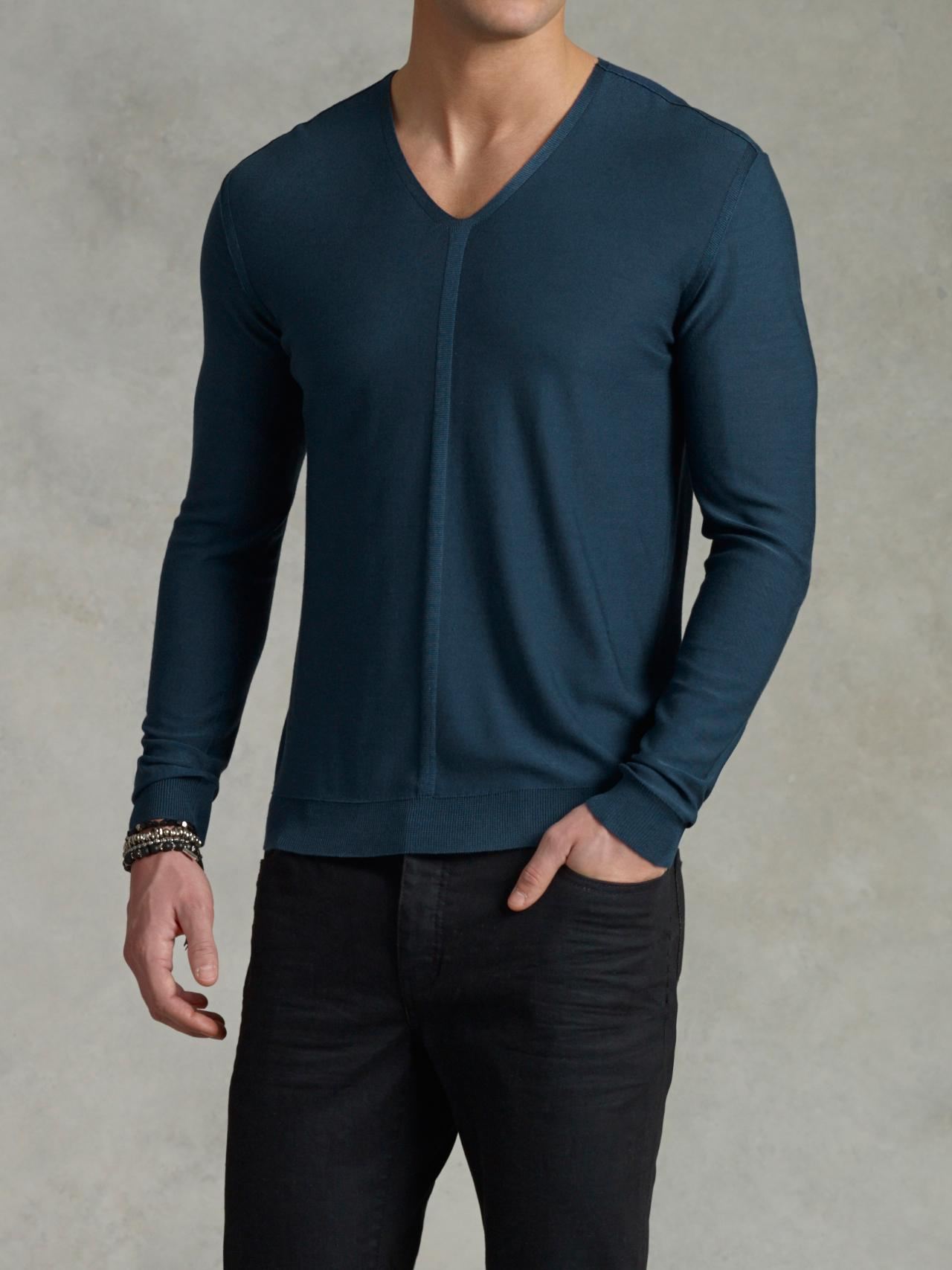 Contrast Stitch V-Neck Sweater