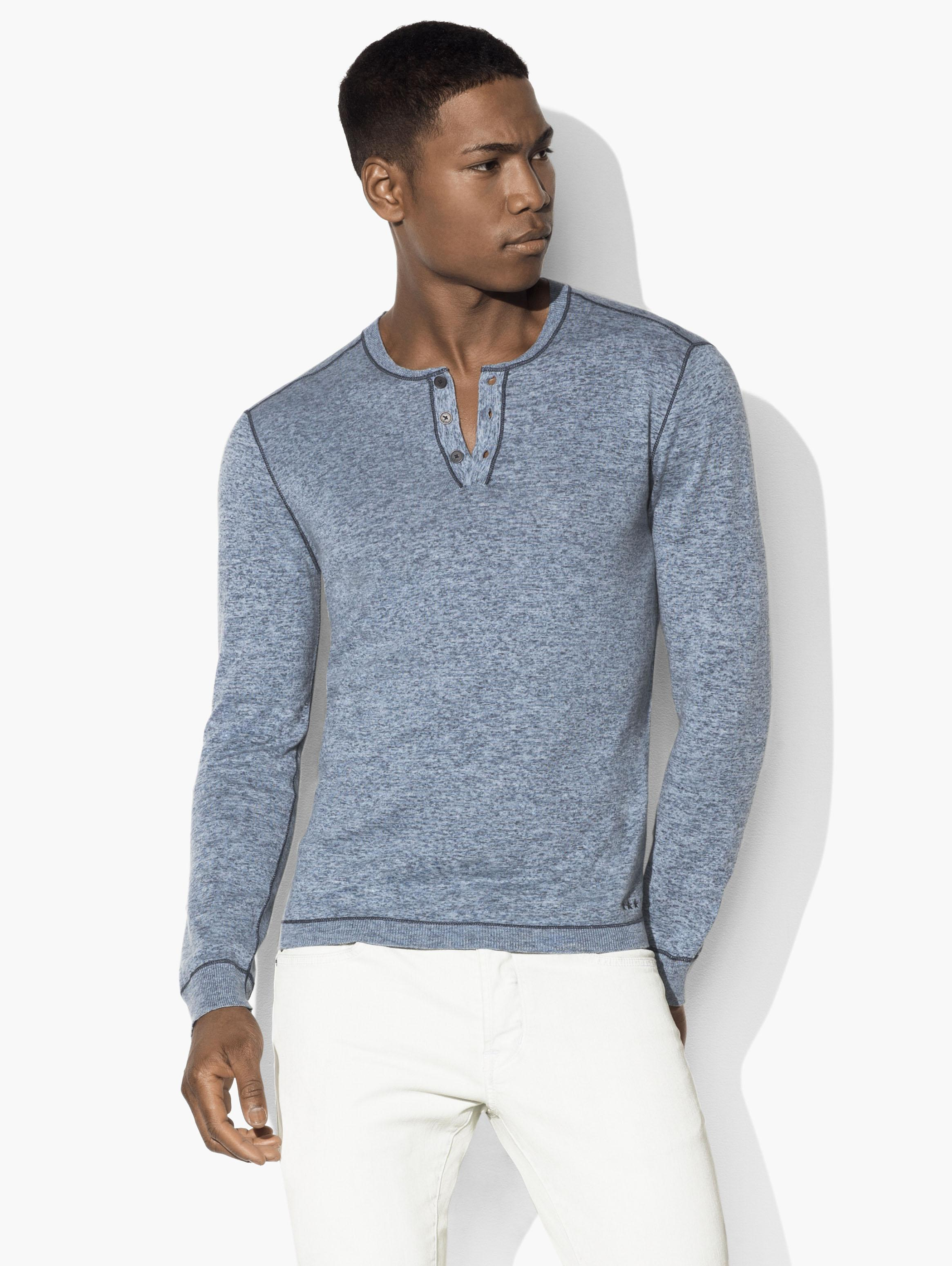 Henley Sweater with Stitched Details