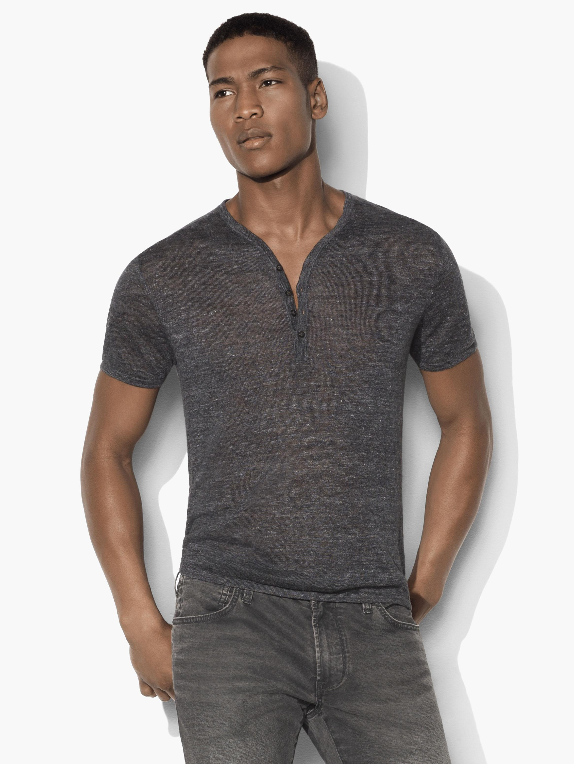Linen Drop Neck Henley