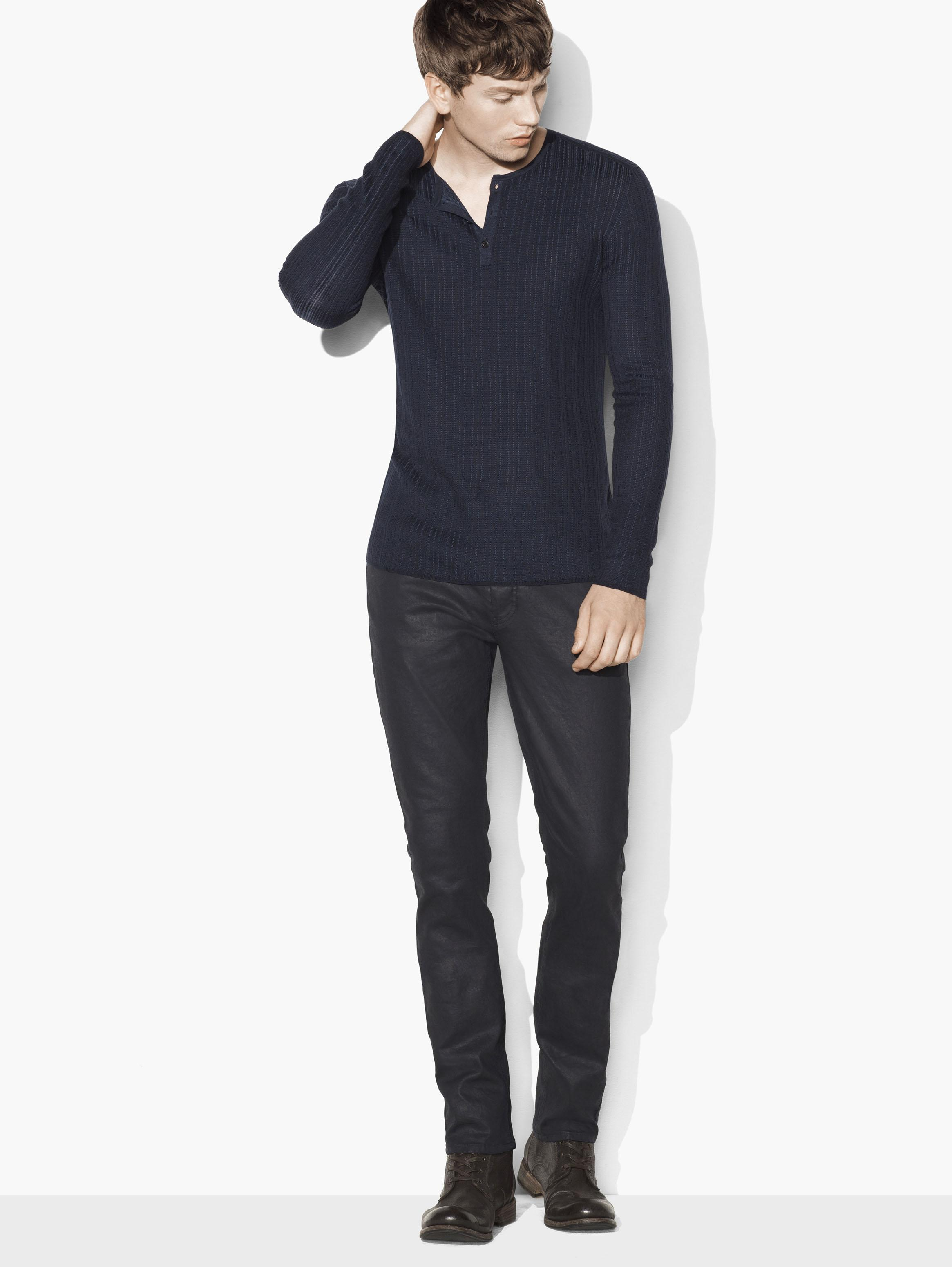 Silk Cotton Ribbed Henley