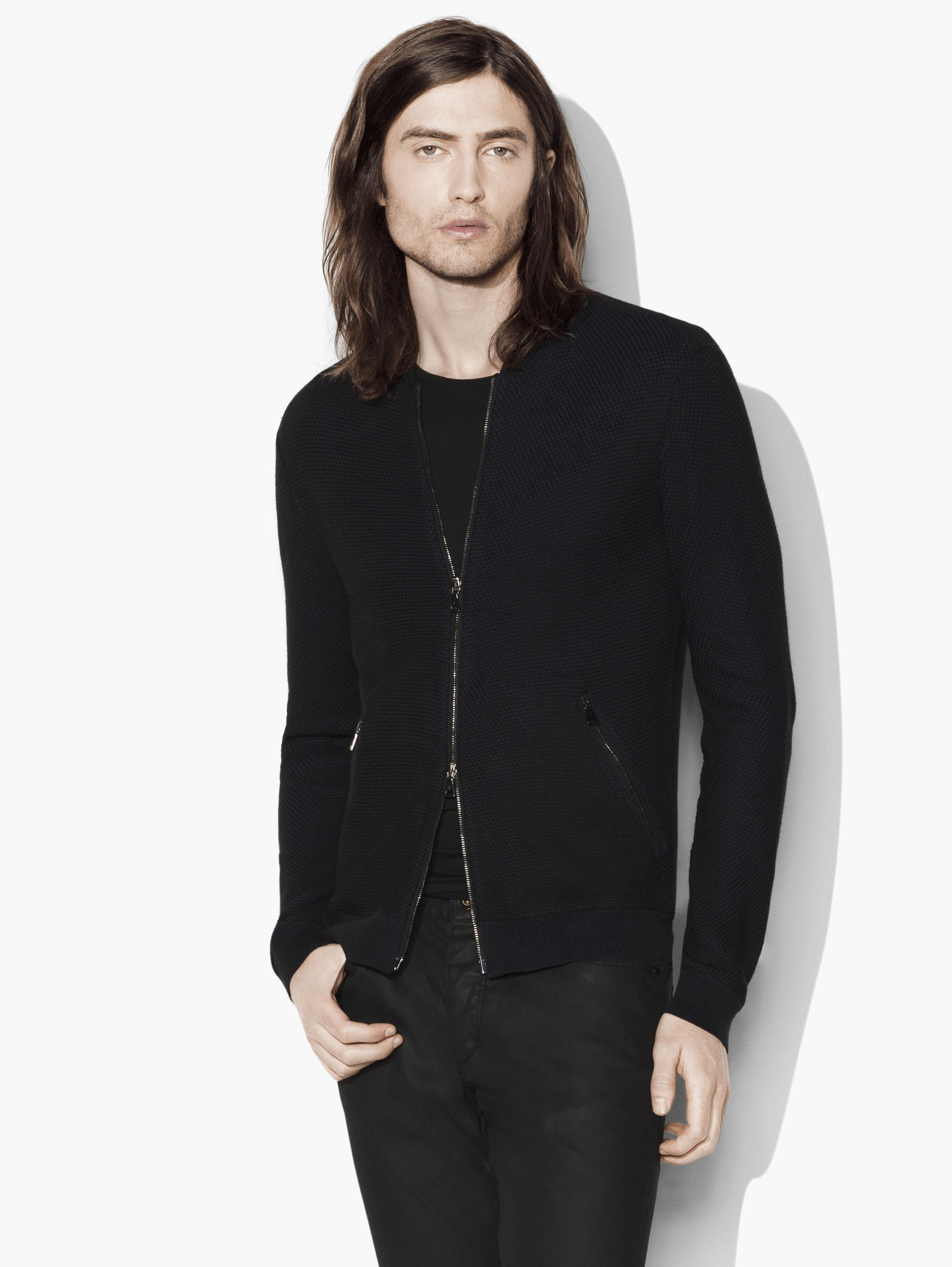 Silk & Pima Cotton Bomber Cardigan